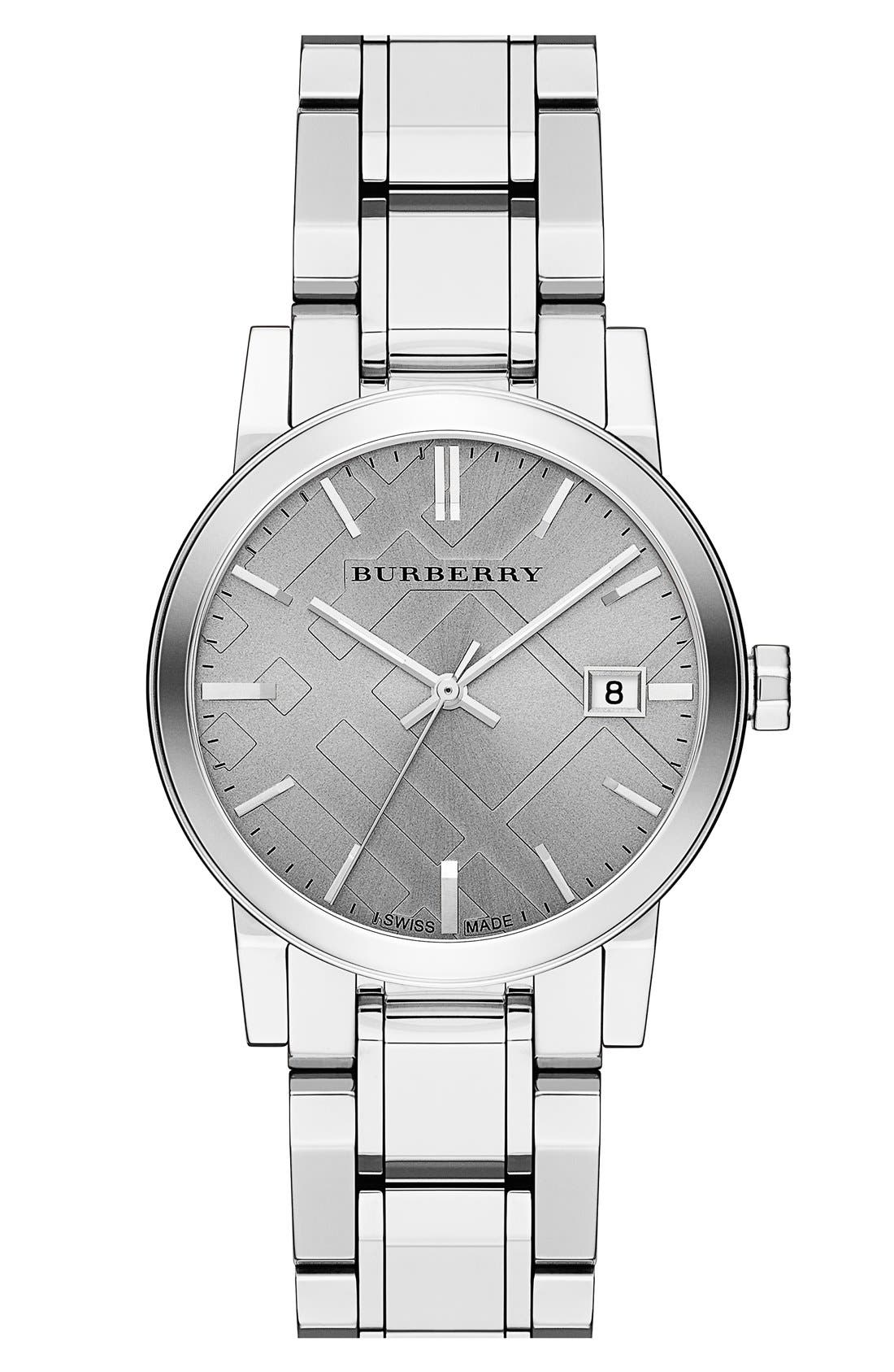 Main Image - Burberry Check Stamped Bracelet Watch, 34mm