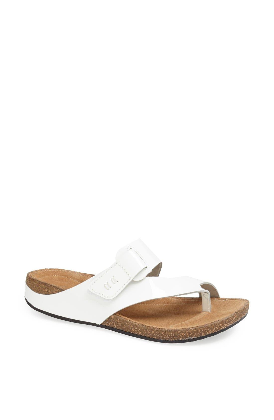 'Perri Coast' Leather Thong Sandal,                         Main,                         color, White Patent