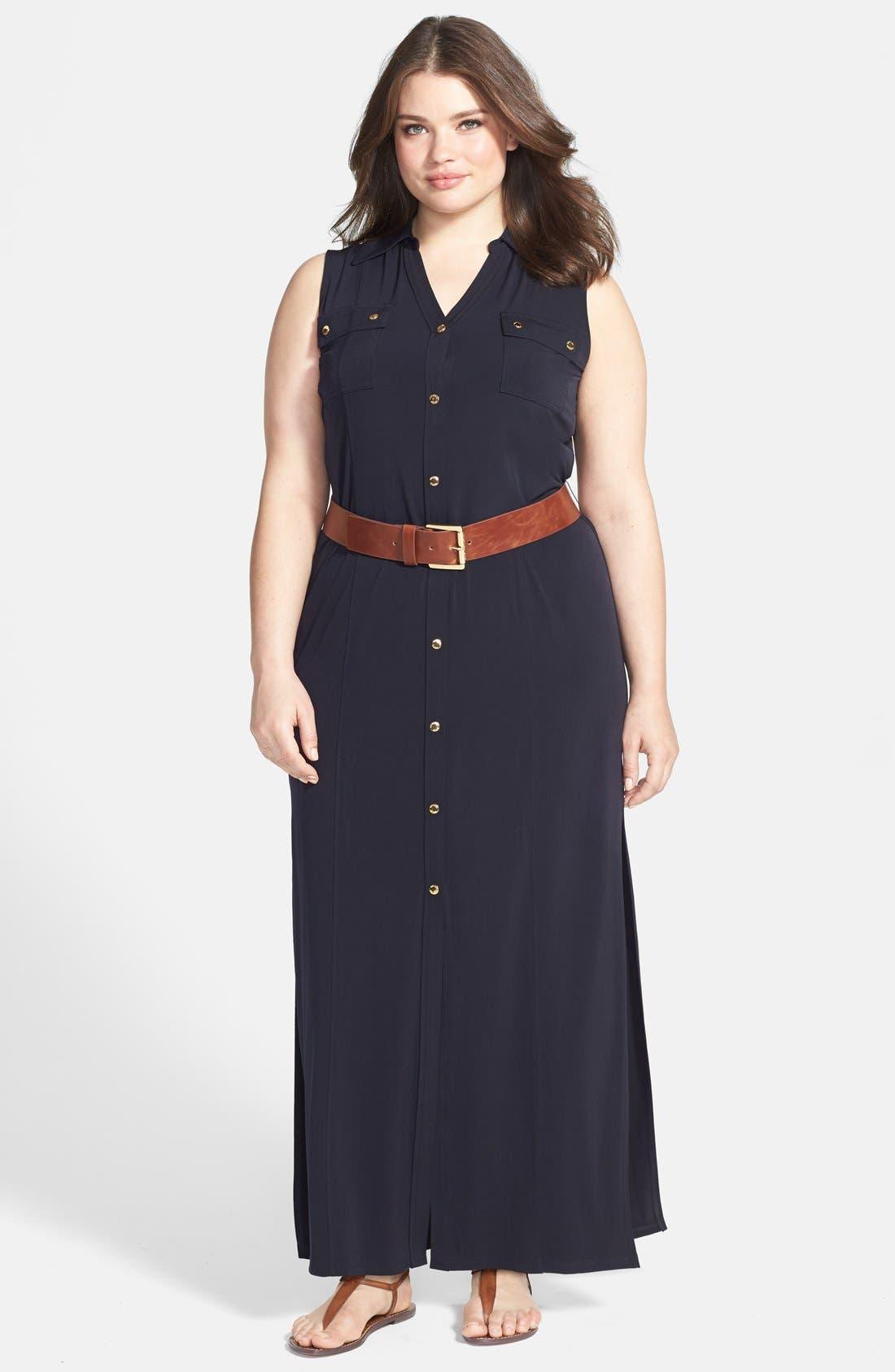 Main Image - MICHAEL Michael Kors Sleeveless Matte Jersey Maxi Shirtdress (Plus Size)