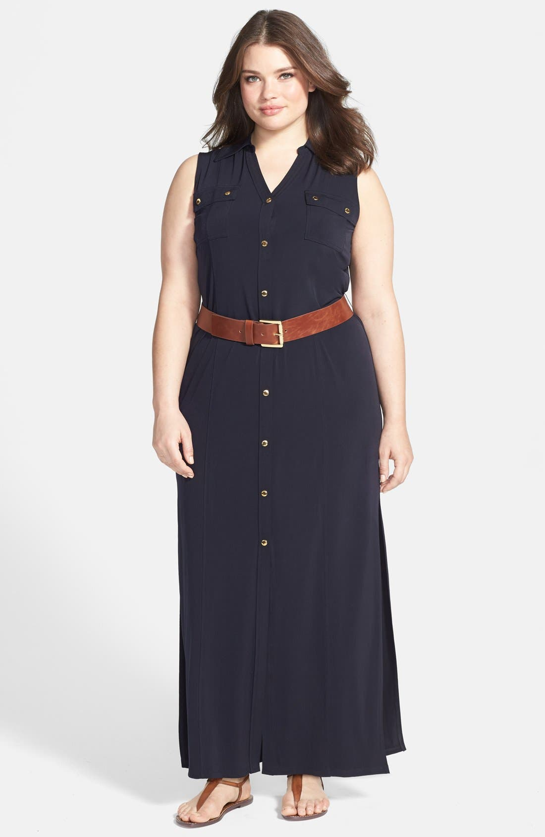Sleeveless Matte Jersey Maxi Shirtdress,                         Main,                         color, Navy