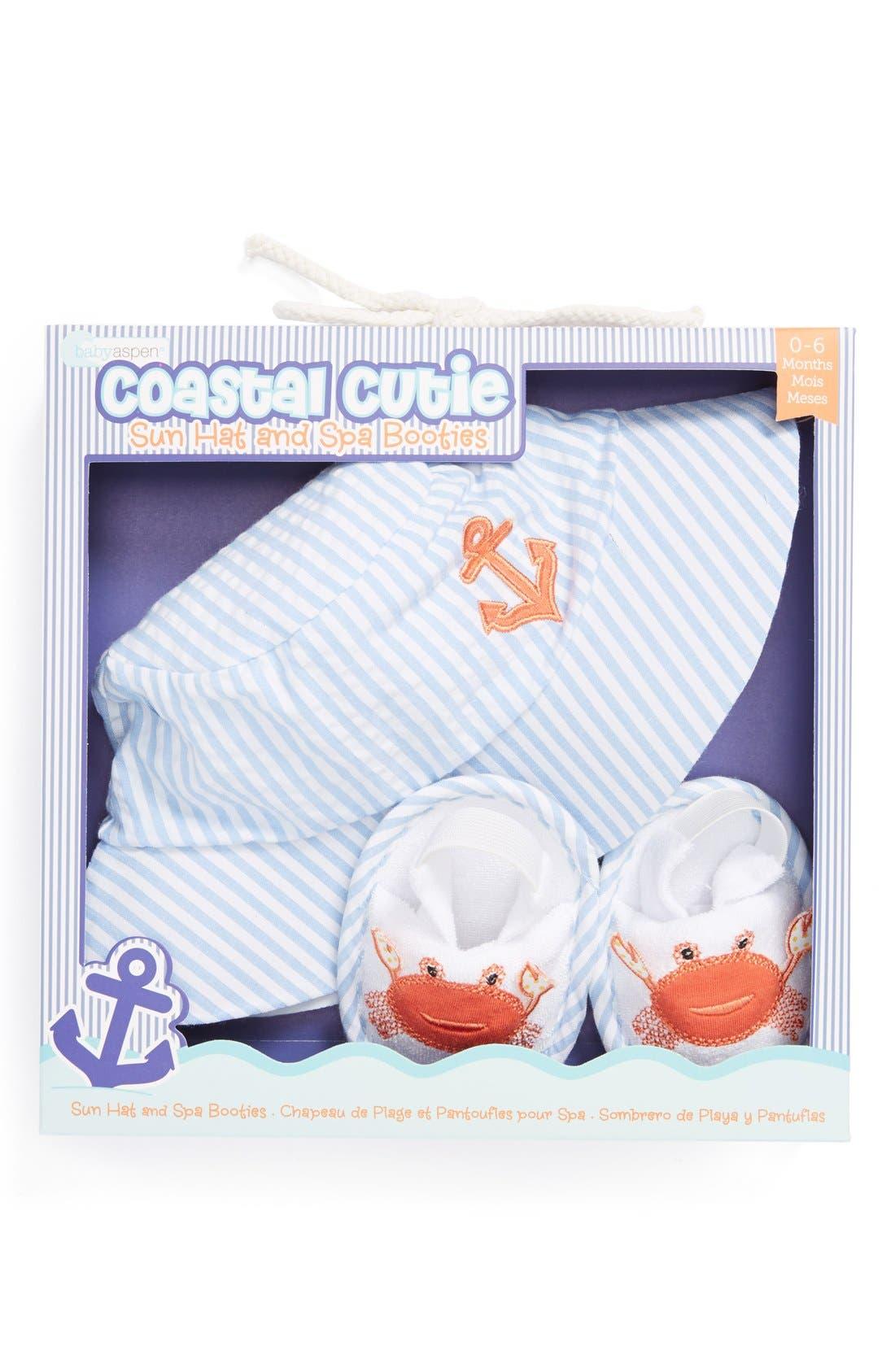 Main Image - Baby Aspen 'Coastal Cutie' Sun Hat & Booties (Baby)