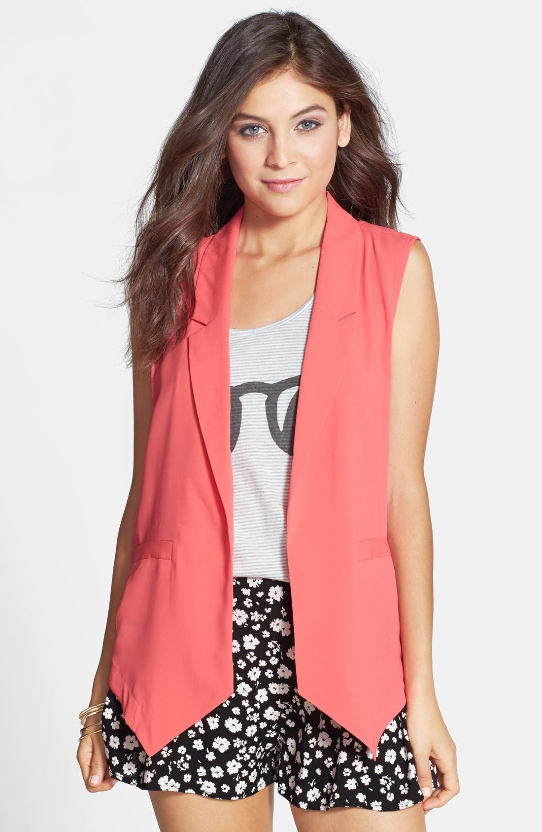 Alternate Image 1 Selected - Frenchi® Draped Blazer-Style Vest (Juniors)