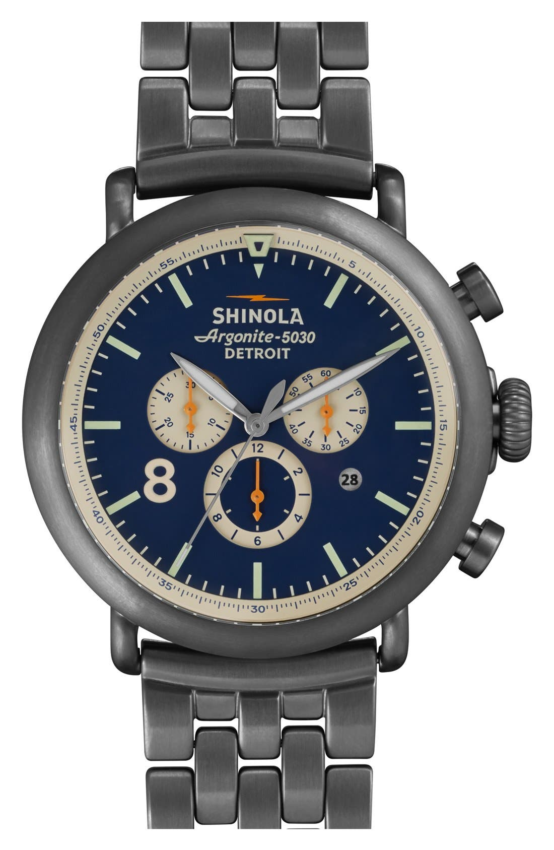 The Runwell Contrast Chrono Bracelet Watch, 47mm,                         Main,                         color, Gunmetal/ Blue