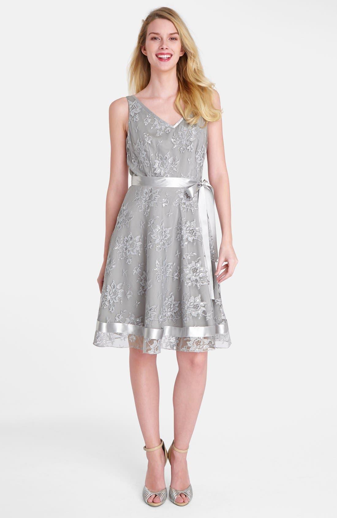 Alternate Image 3  - Tahari Metallic Lace Fit & Flare Dress