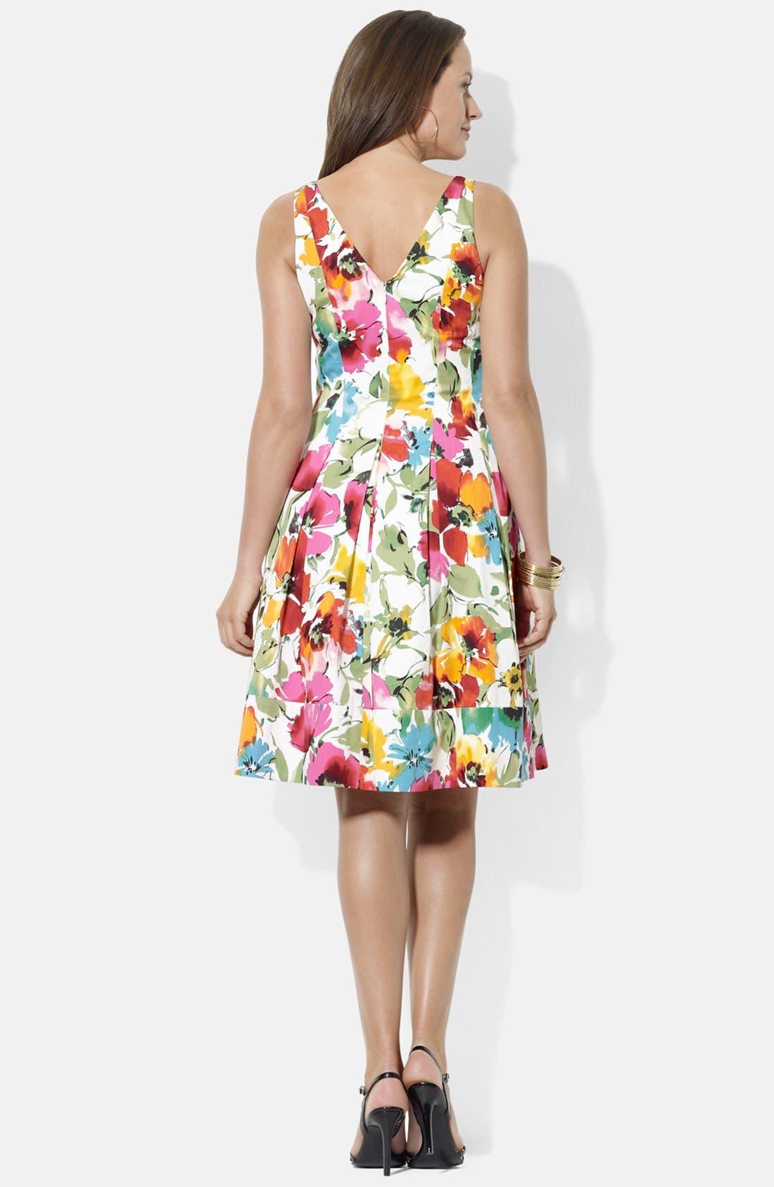 Alternate Image 2  - Lauren Ralph Lauren V-Neck Floral Print Sundress (Plus Size)