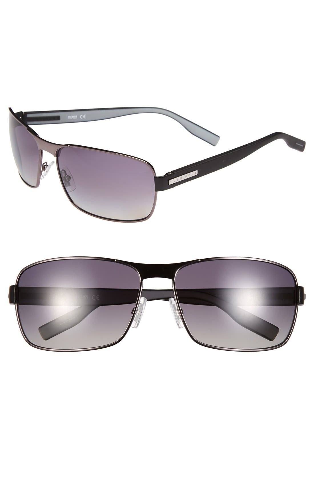 62mm Polarized Sunglasses,                             Main thumbnail 1, color,                             Dark Ruthenuim