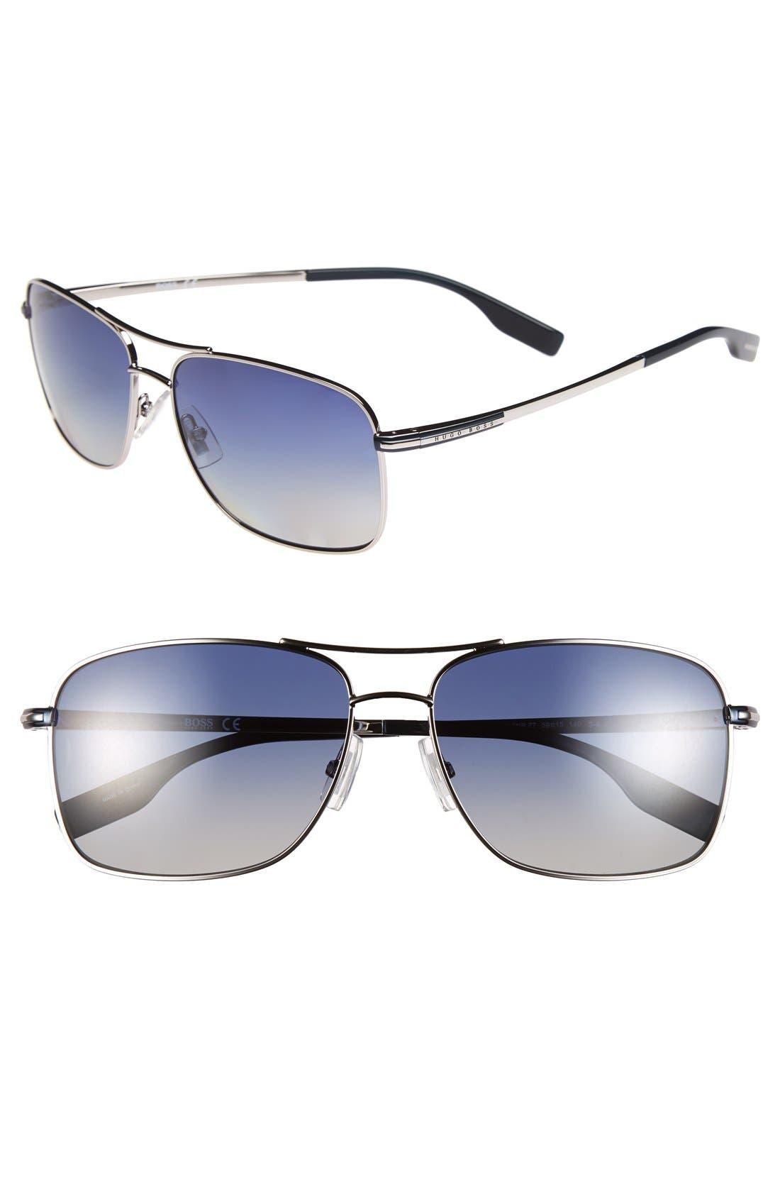 Main Image - BOSS 59mm Polarized Navigator Sunglasses