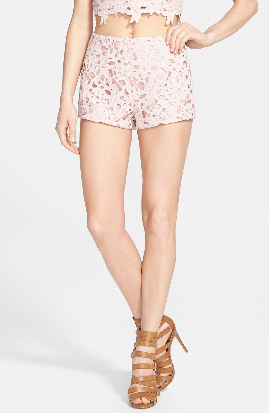 ASTR Lace Shorts,                         Main,                         color, Dusty Rose