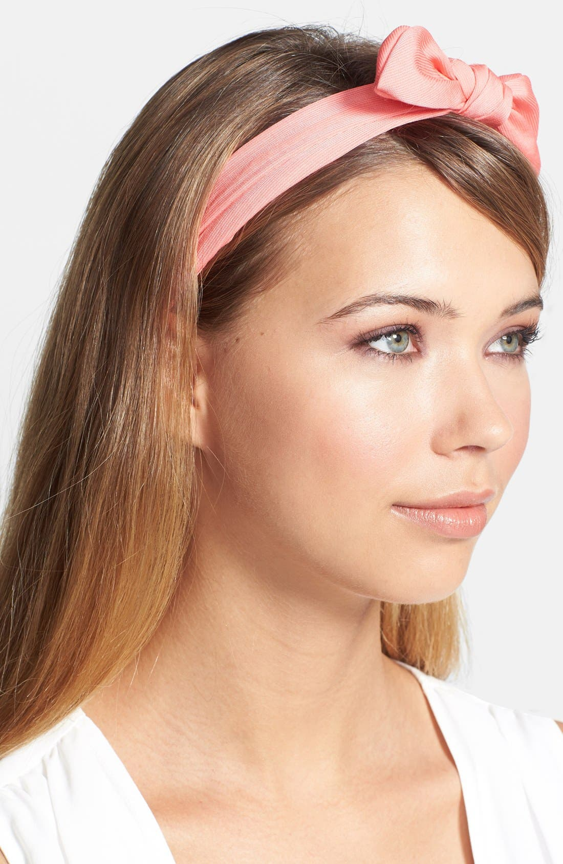 'Grace' Bow 3-in-1 Head Wrap,                             Main thumbnail 1, color,                             Coral