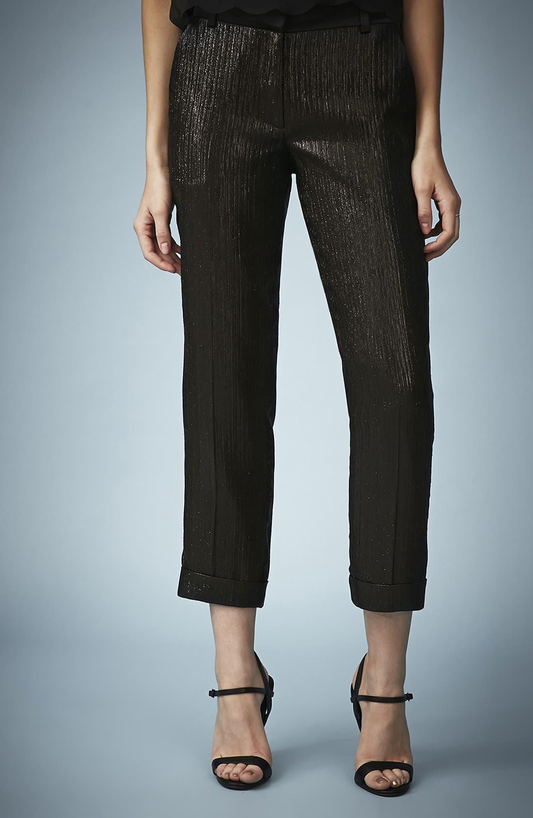 Main Image - Kate Moss for Topshop Lamé Tuxedo Pants