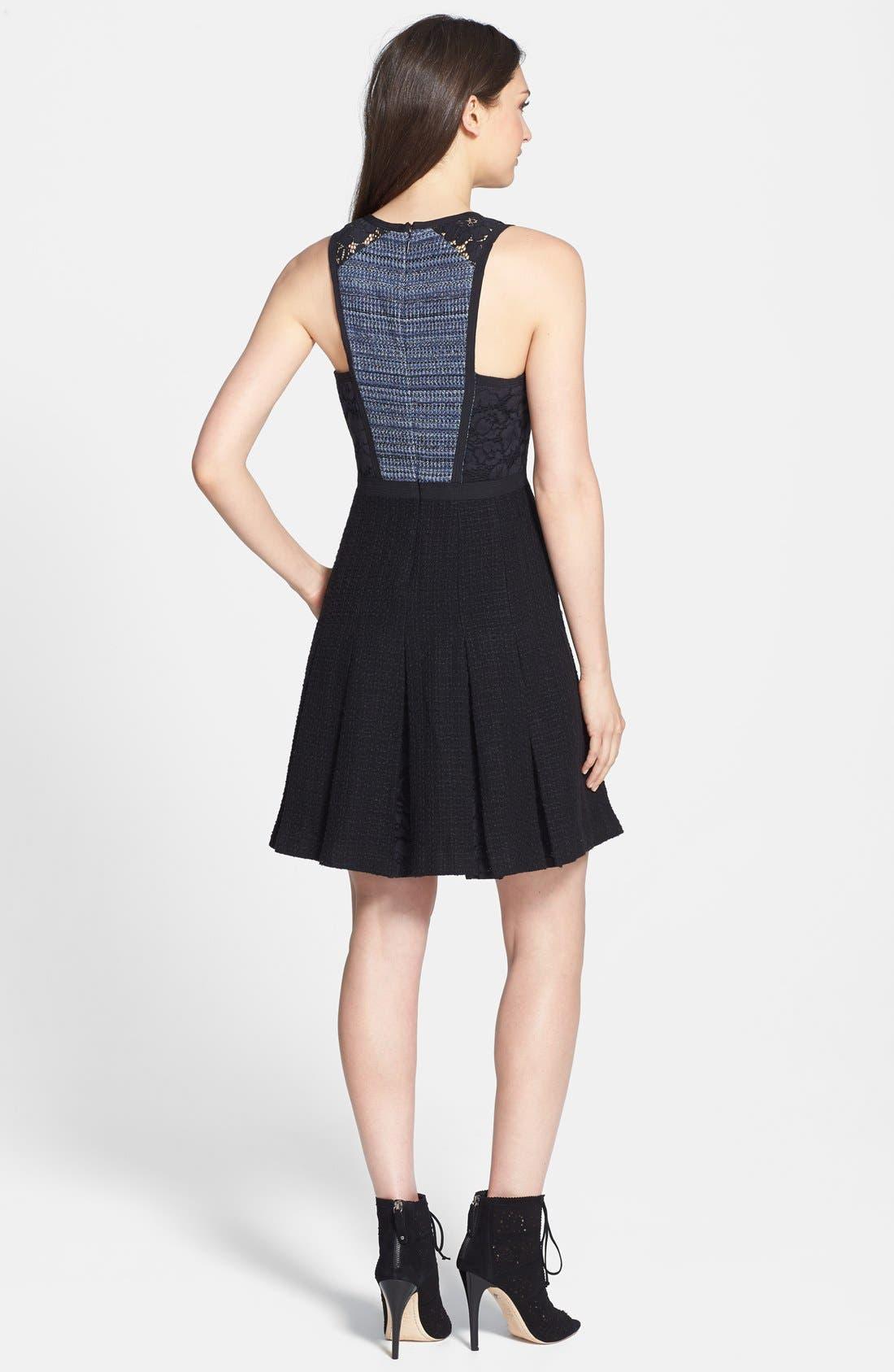 Alternate Image 2  - Rebecca Taylor Lace & Tweed A-Line Dress