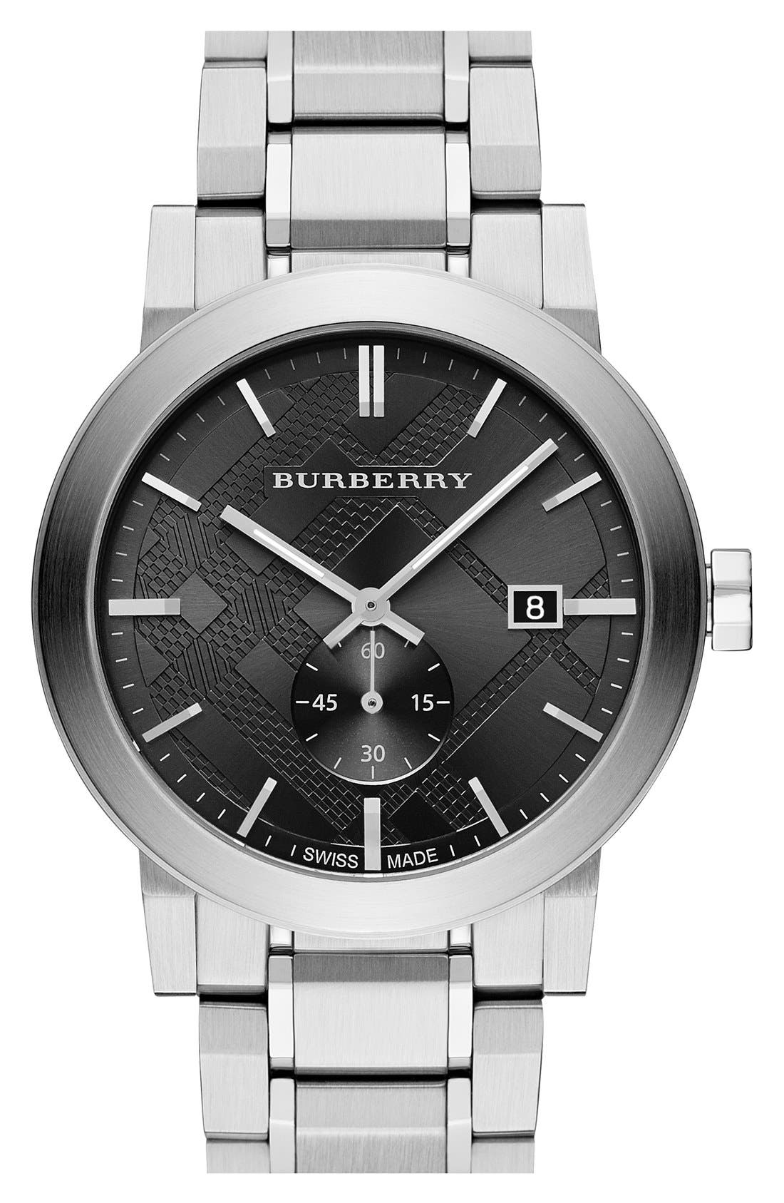 Main Image - Burberry Check Stamped Bracelet Watch, 42mm