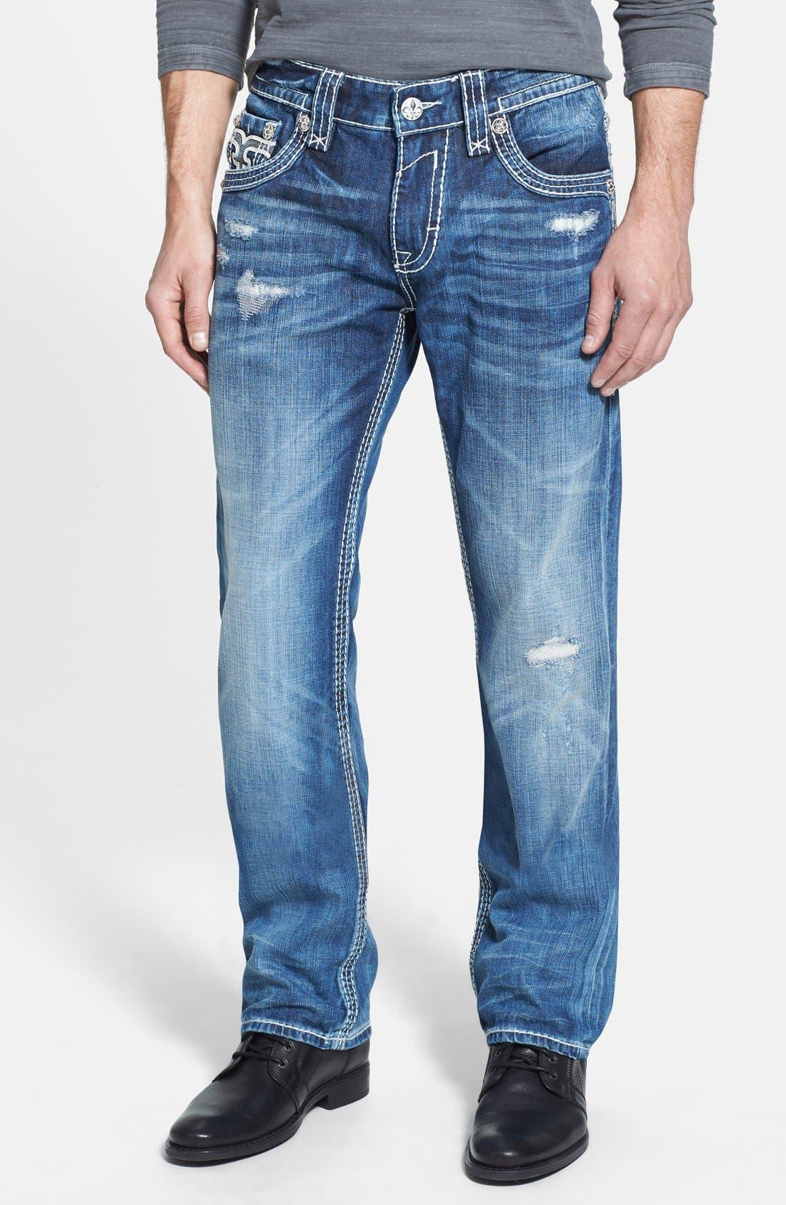 Alternate Image 2  - Rock Revival 'Rogan' Bootcut Jeans (Medium Blue)