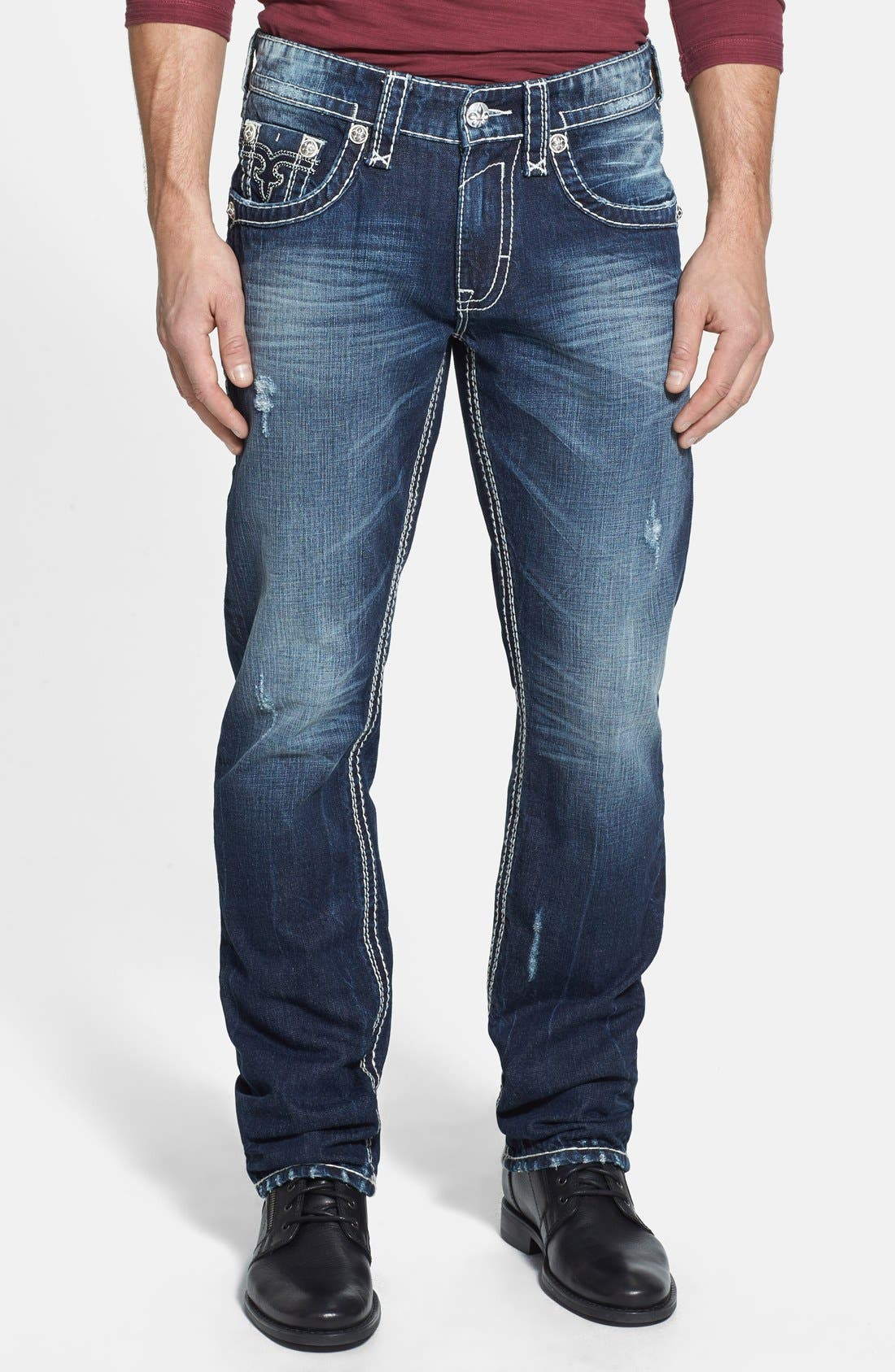 Alternate Image 2  - Rock Revival 'Saul' Straight Leg Jeans (Dark Blue)
