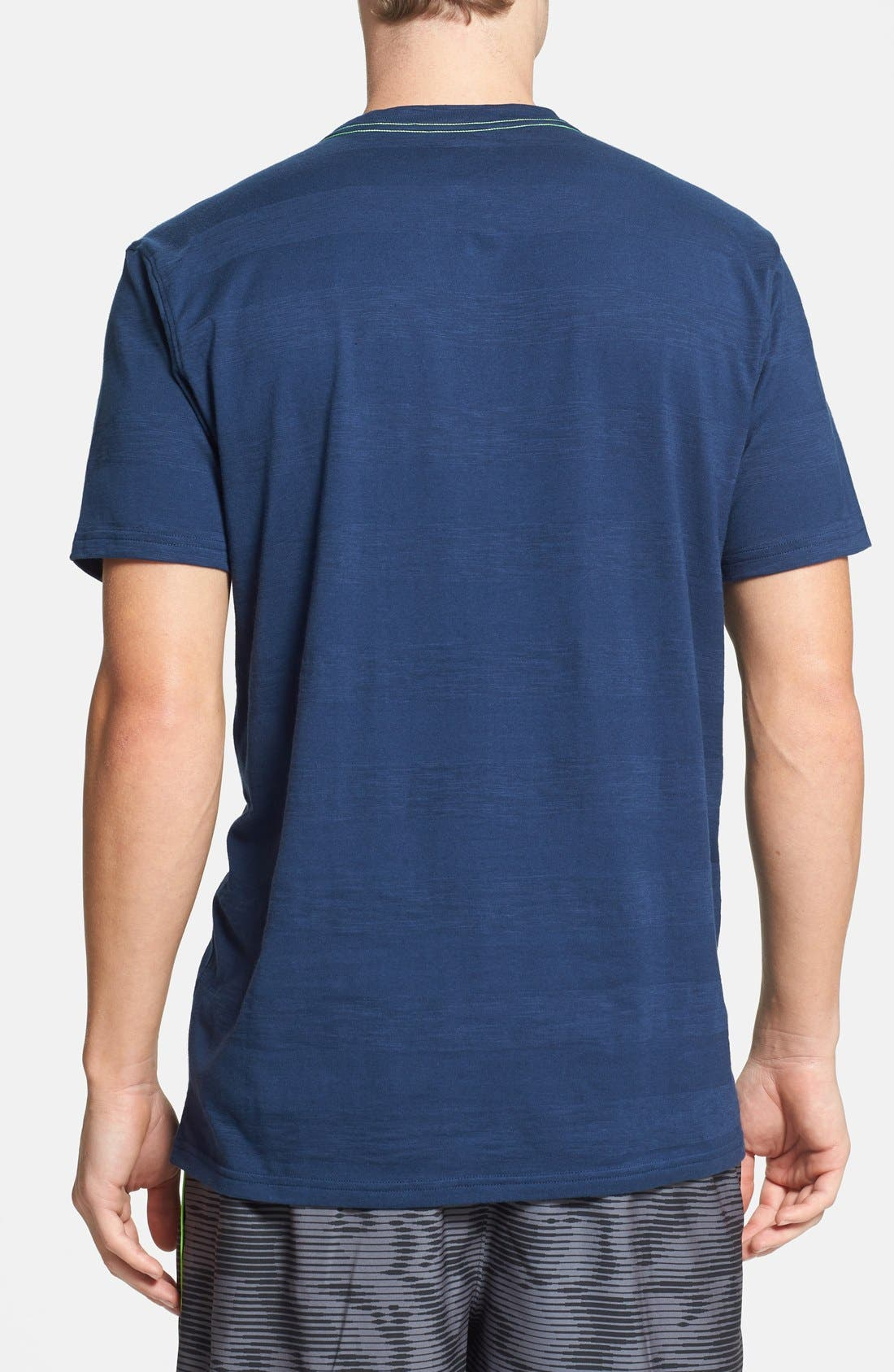 Alternate Image 2  - Under Armour Charged Cotton® Stripe V-Neck T-Shirt