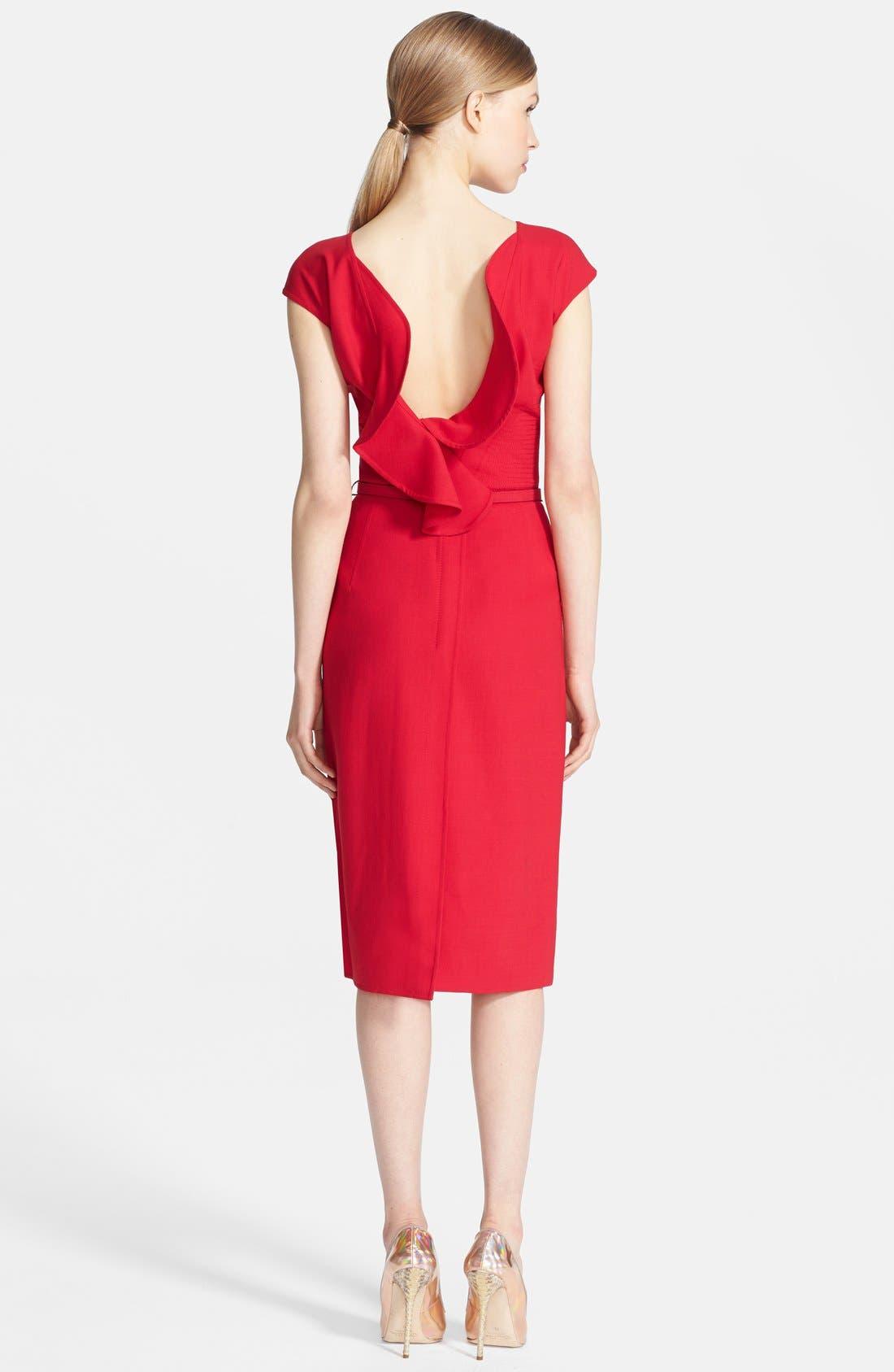 Alternate Image 2  - Oscar de la Renta Ruffle Back Pencil Dress
