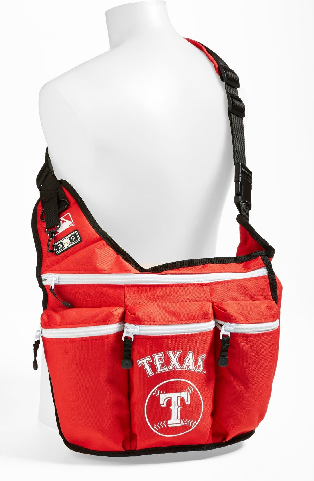'Texas Rangers' Messenger Diaper Bag,                             Alternate thumbnail 2, color,                             Red