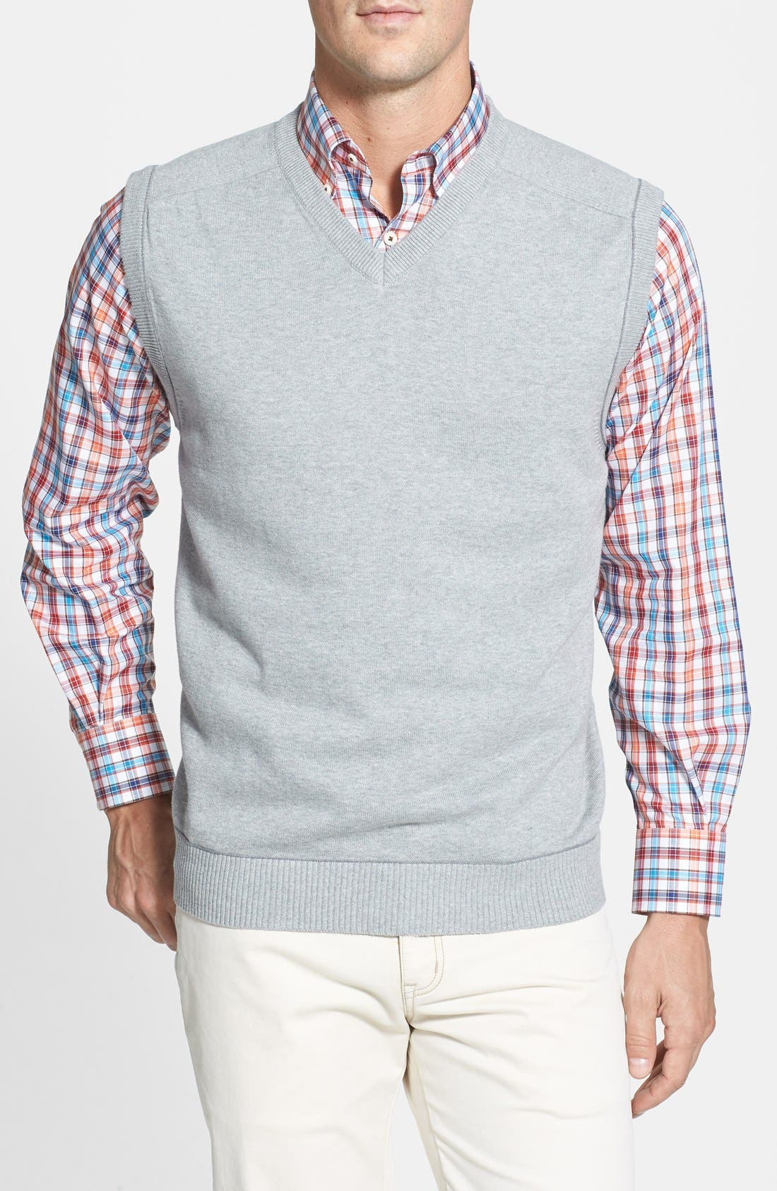 Broadview V-Neck Sweater Vest,                             Main thumbnail 1, color,                             Athletic Grey Heather