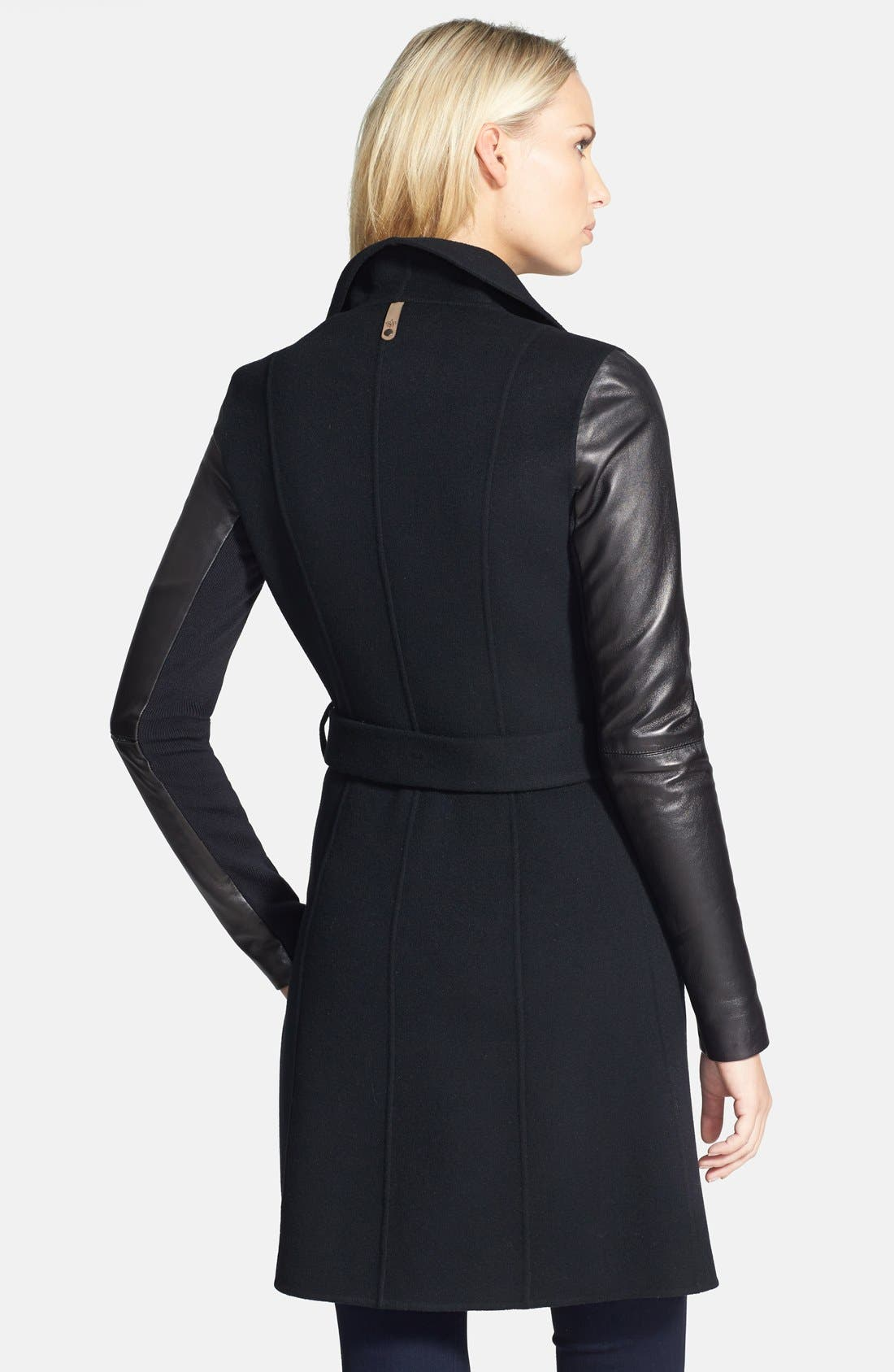 Alternate Image 2  - Mackage 'Hemy' Leather Sleeve Asymmetrical Long Coat