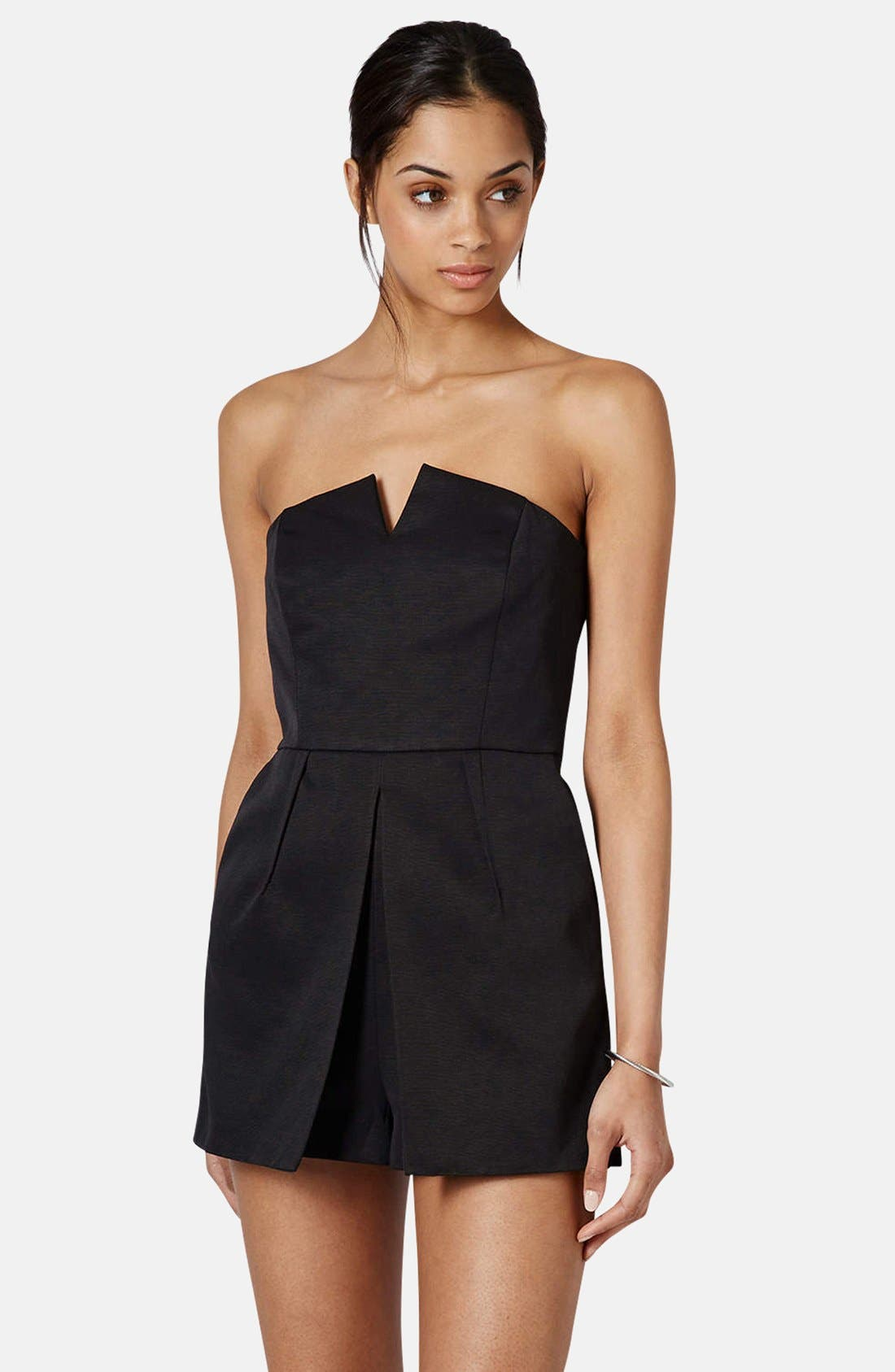 Main Image - Topshop Notched Neck Romper (Regular & Petite)