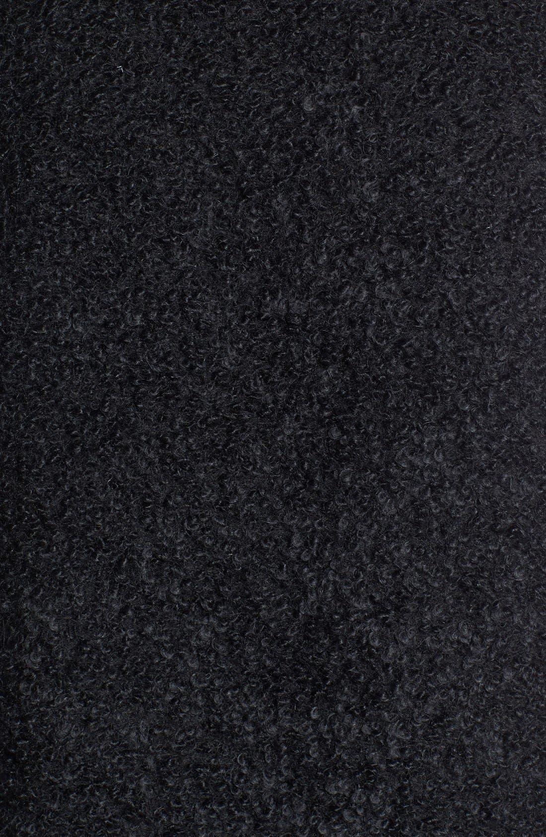 Leather Trim Alpaca Blend Vest,                             Alternate thumbnail 3, color,                             Black