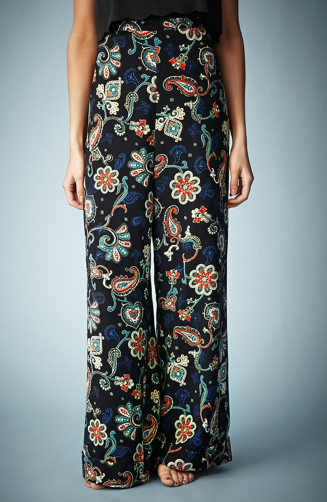 Kate Moss for Topshop Paisley Wide Leg Pants,                         Main,                         color, Black