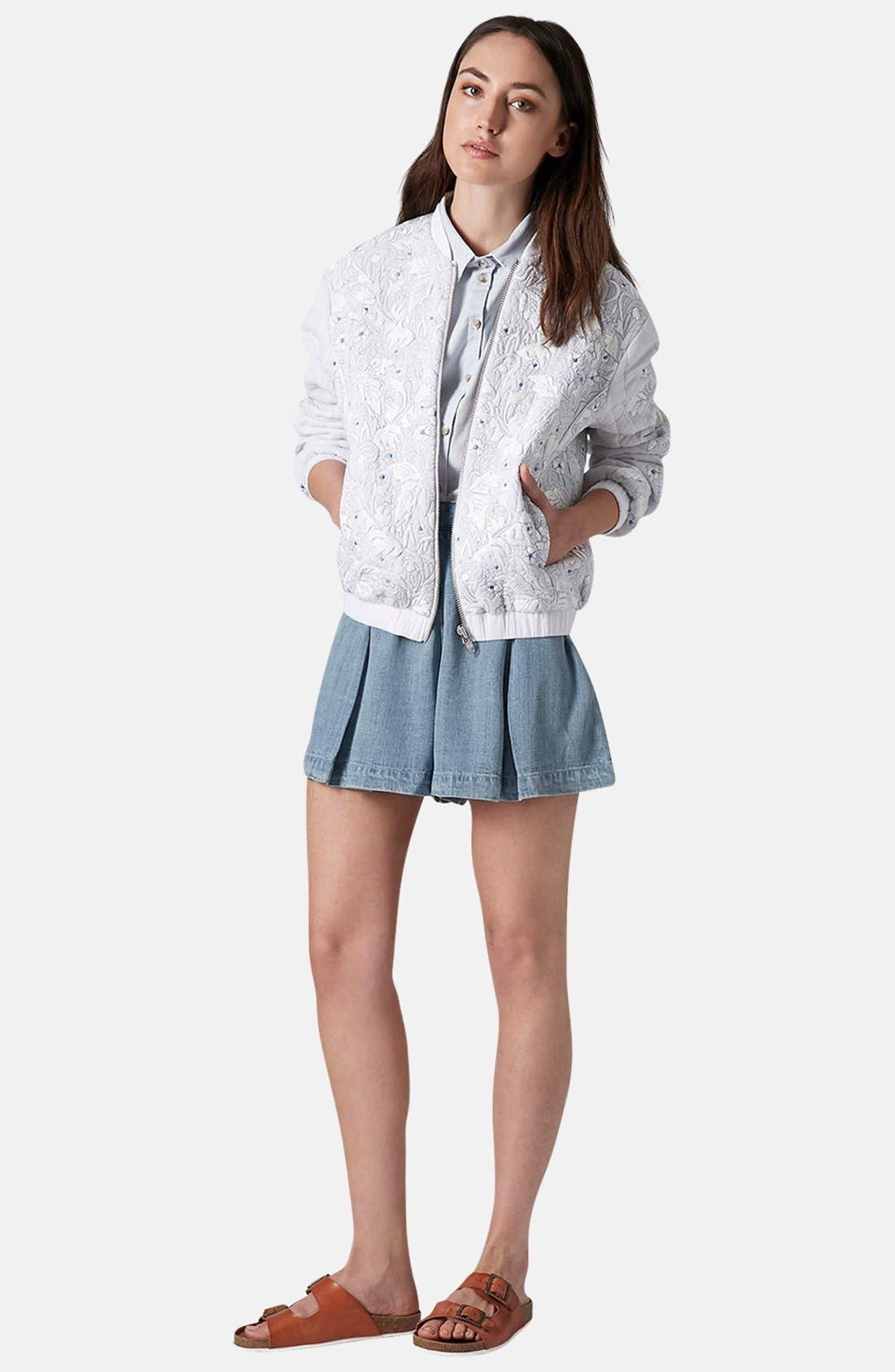 Alternate Image 5  - Topshop Moto Pleated Denim Skort