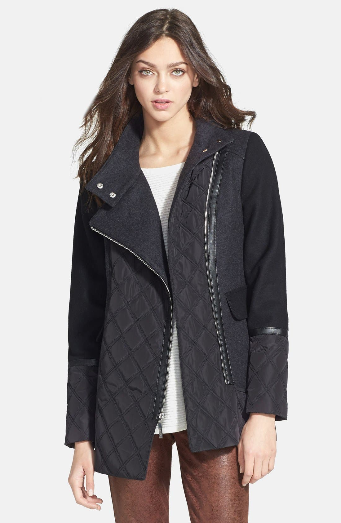 Main Image - kensie Asymmetric Zip Mixed Media Coat