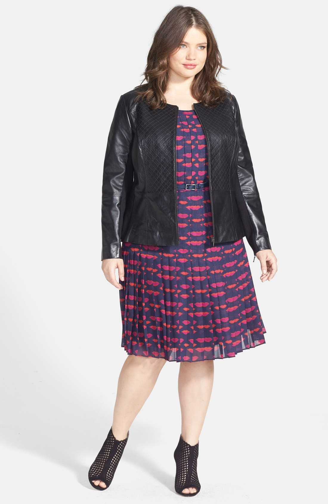 Alternate Image 4  - Sejour Quilted Leather Peplum Jacket (Plus Size)