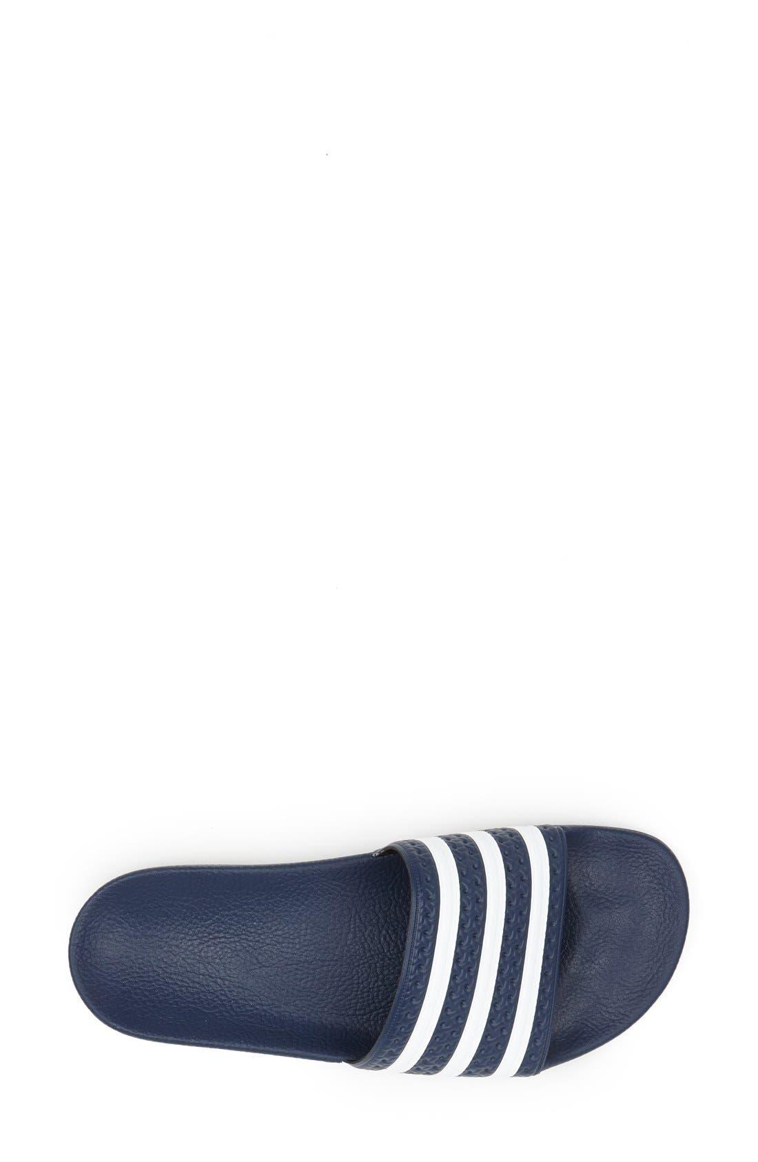 'Adilette' Slide Sandal,                             Alternate thumbnail 3, color,                             New Navy/ White