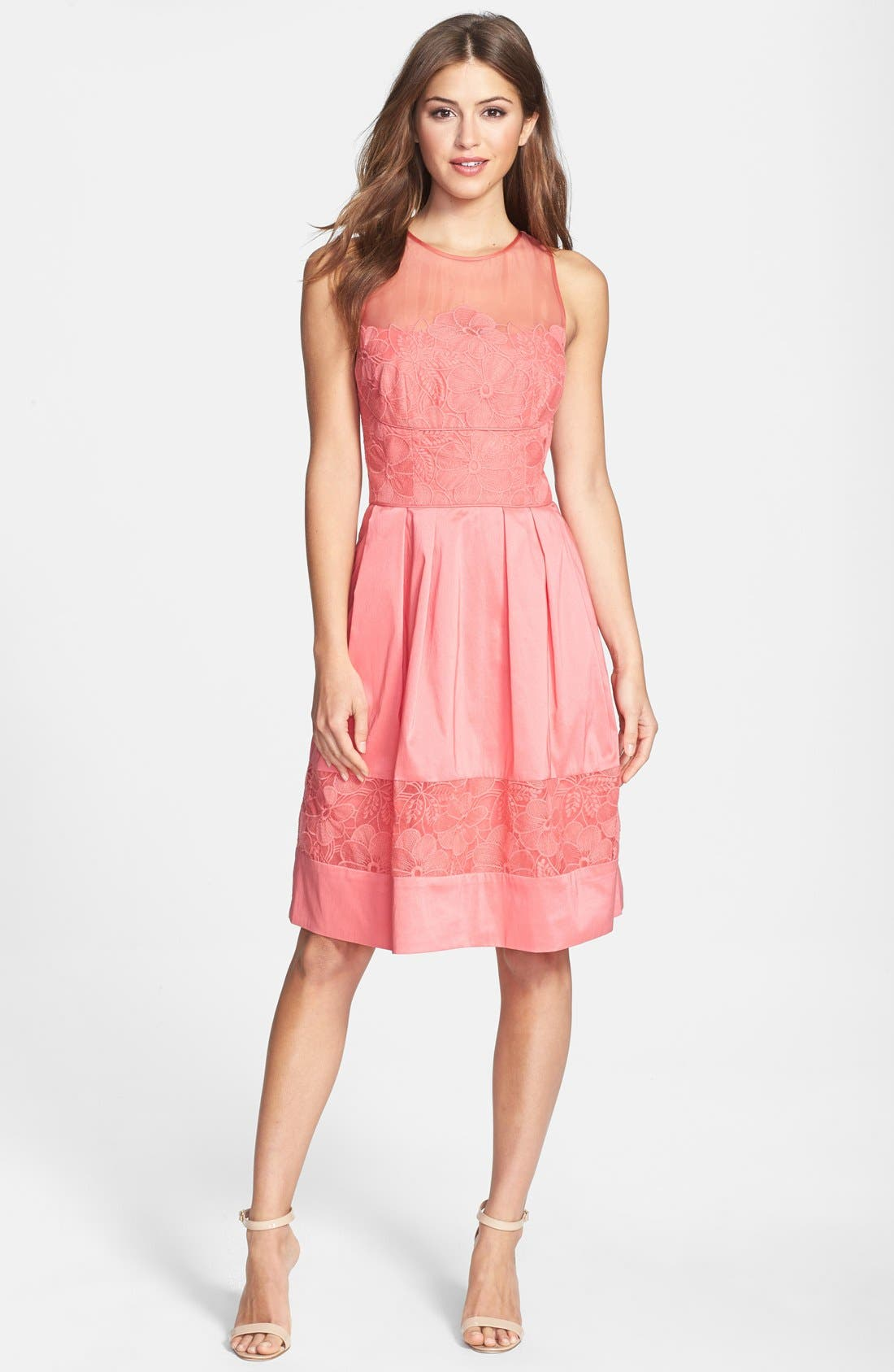 Alternate Image 3  - Maggy London Embroidered Detail Taffeta Fit & Flare Dress (Petite)