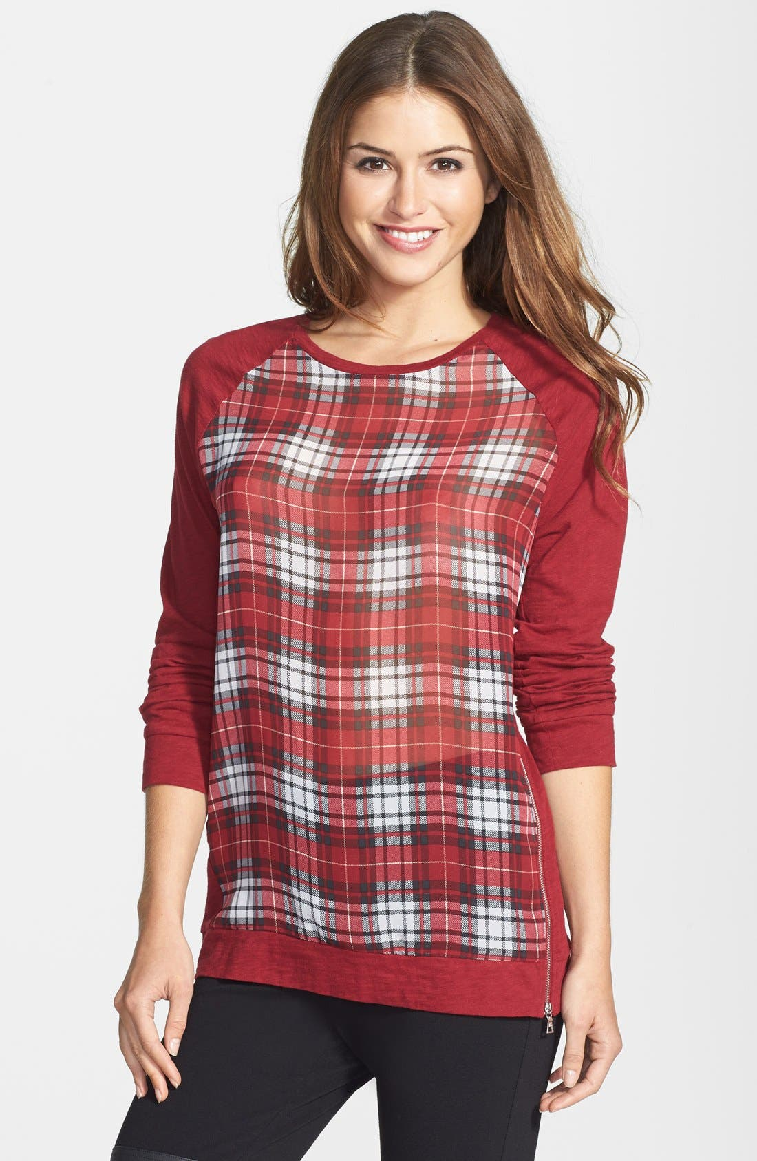 Main Image - Two by Vince Camuto Tartan Front Mixed Media Sweatshirt