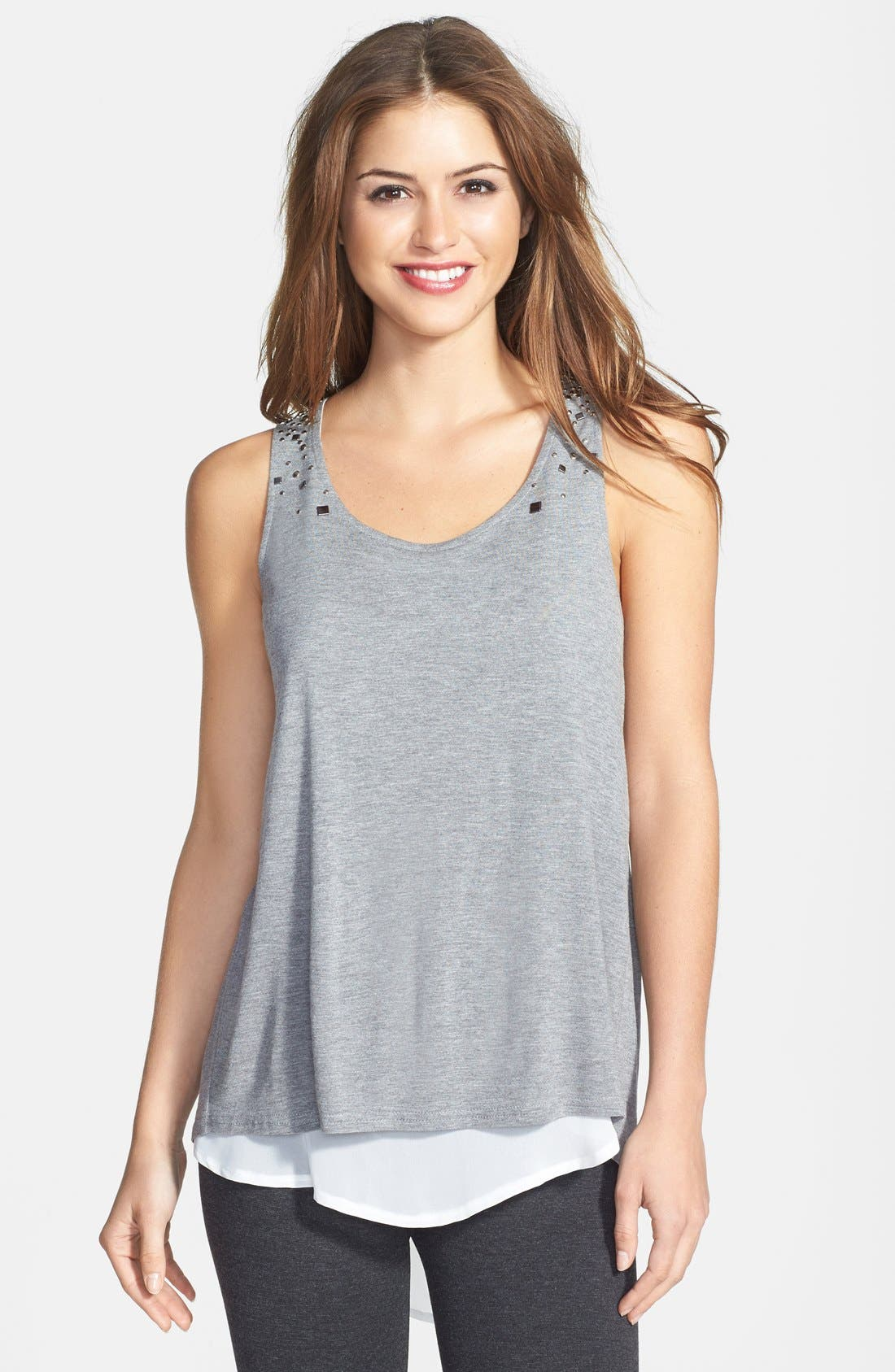 Alternate Image 1 Selected - Two by Vince Camuto Embellished Jersey & Chiffon Tank