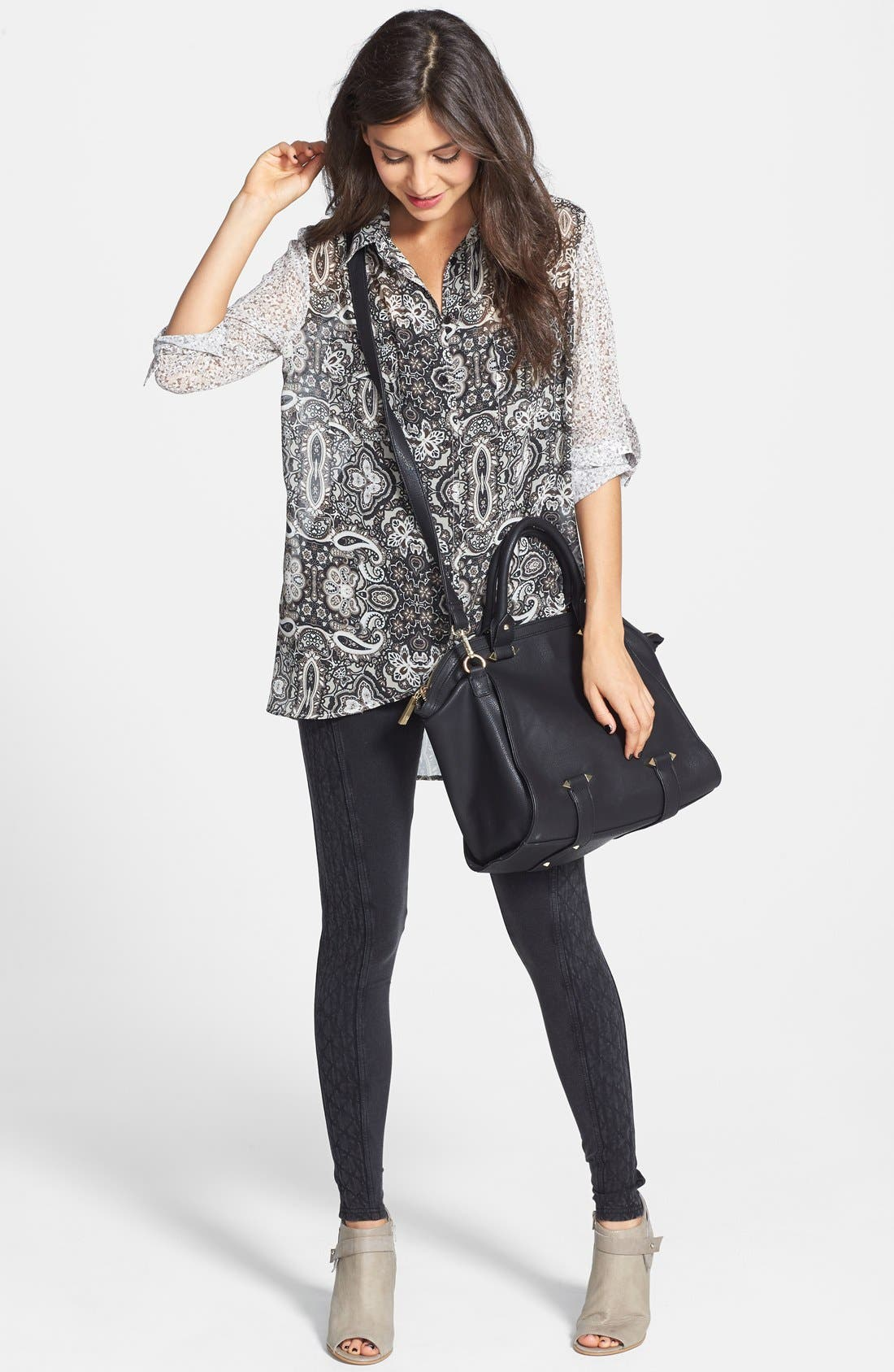 Alternate Image 2  - Band of Gypsies Mixed Print Oversized Tunic (Juniors)