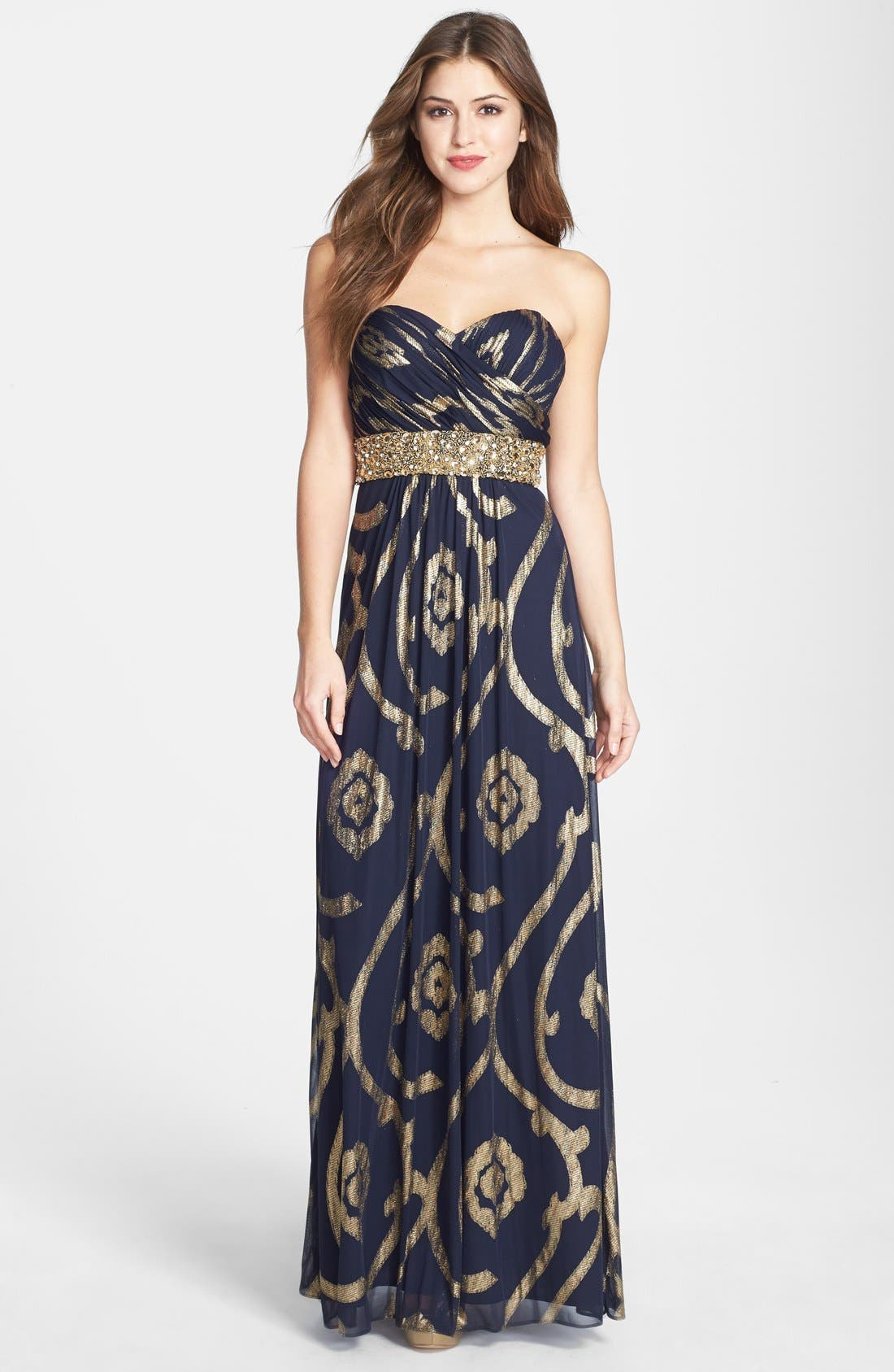 Alternate Image 1 Selected - Betsy & Adam Embellished Sweetheart Mesh Gown