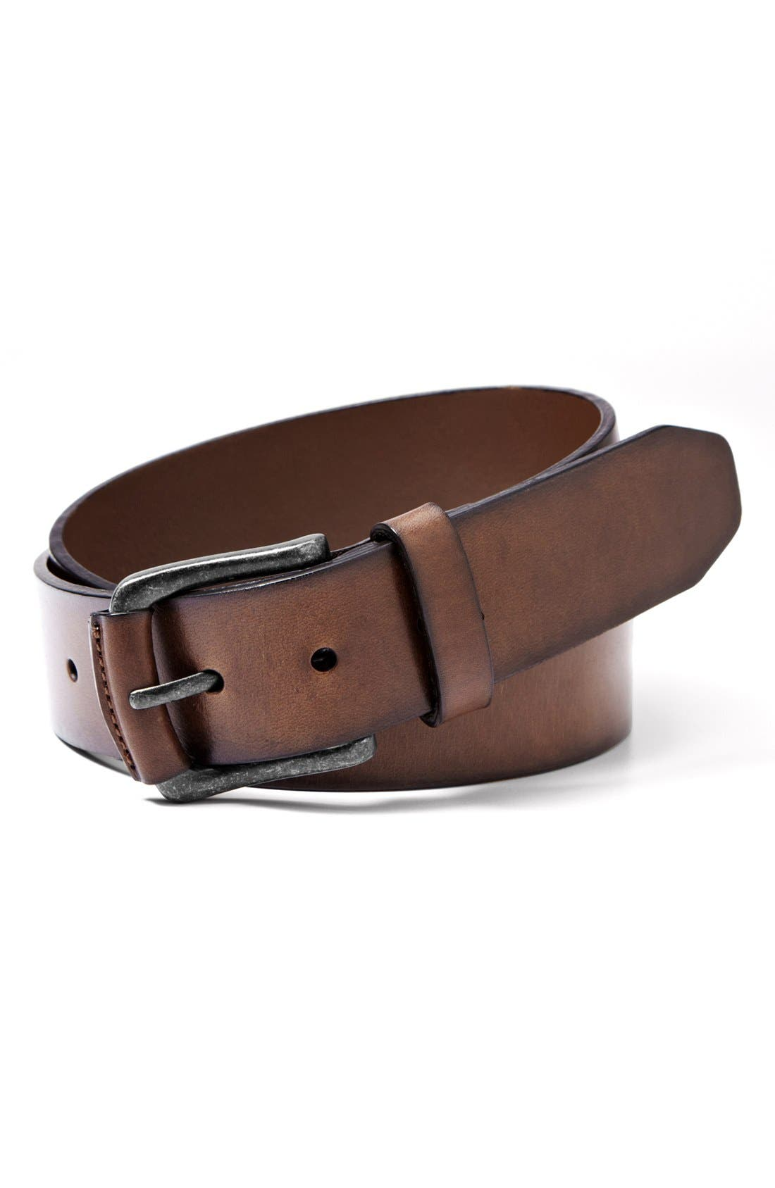 'Carson' Leather Belt,                         Main,                         color, Dark Brown