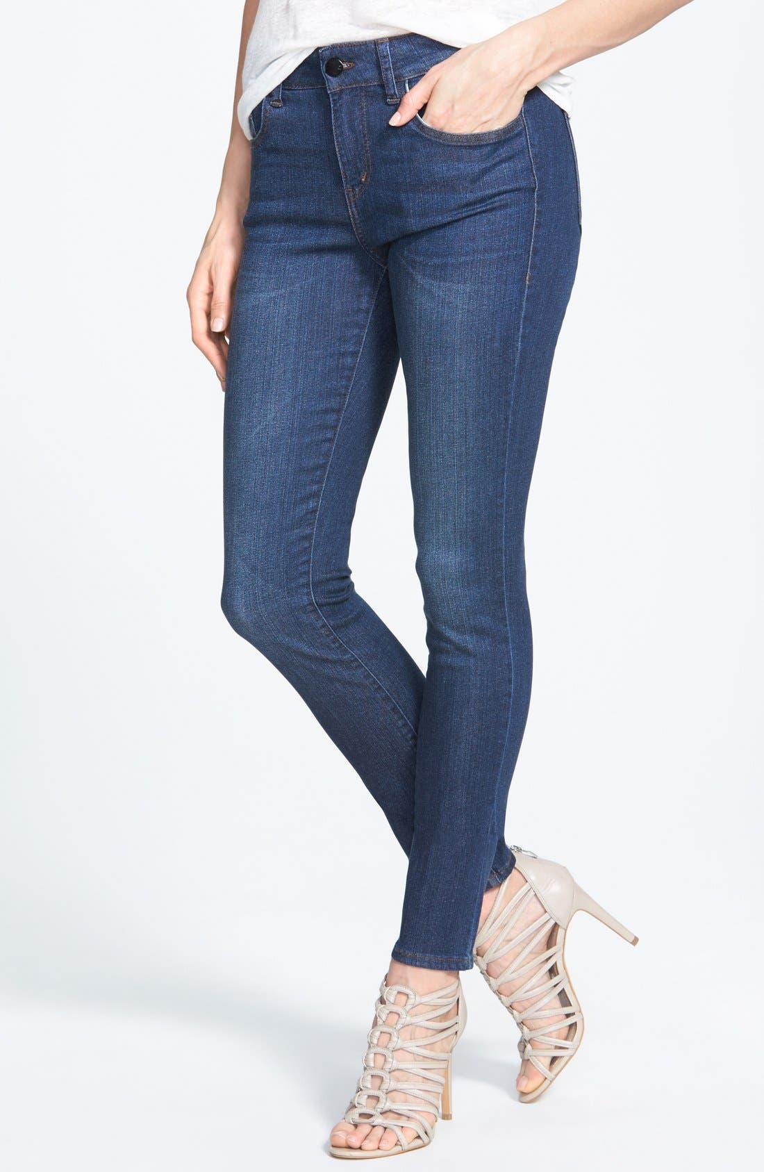Main Image - !iT Collective 'Lauren' Stretch Skinny Jeans (Blue Velvet)
