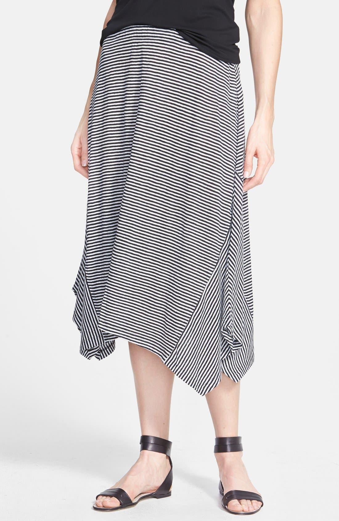 Main Image - Eileen Fisher Stripe Organic Linen Skirt (Regular & Petite)