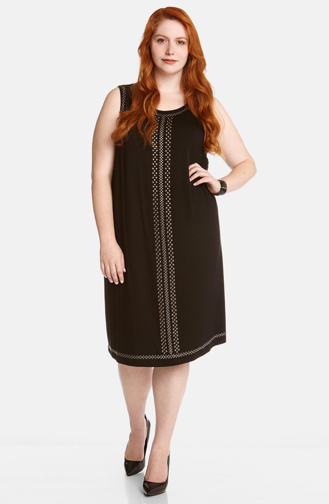Main Image - Karen Kane 'Isabel' Studded Jersey Dress (Plus Size)
