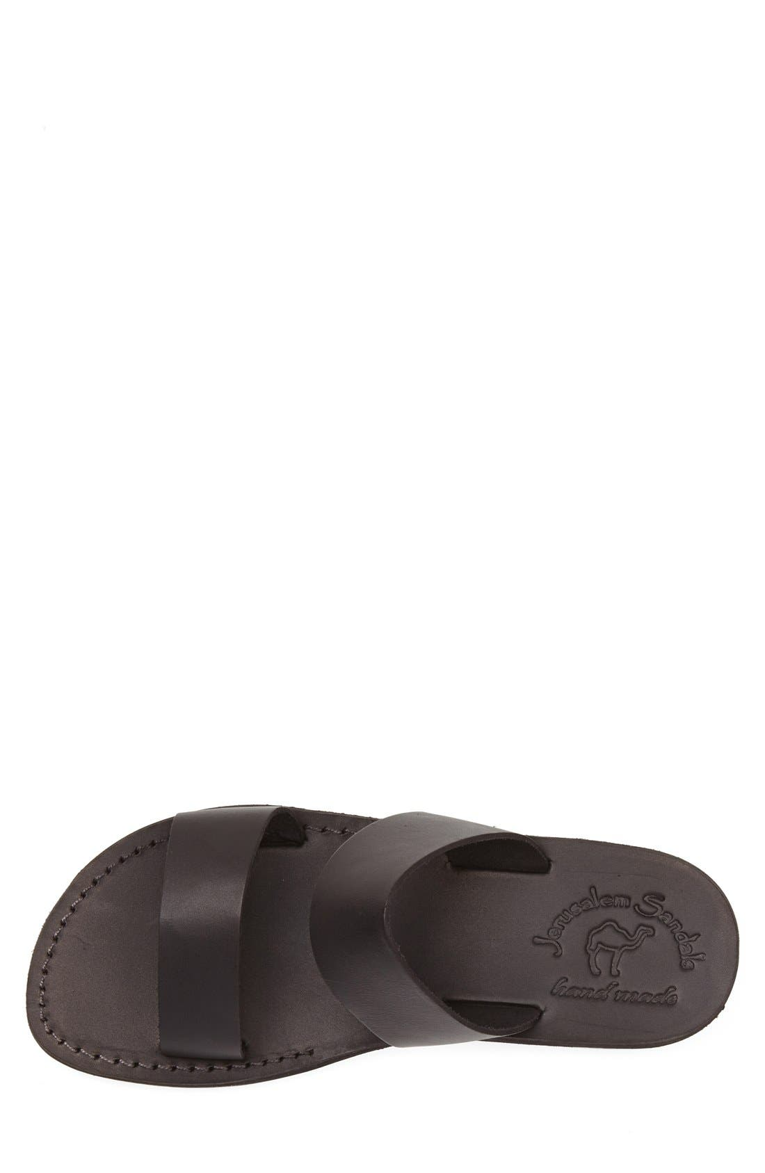 'Aviv' Leather Sandal,                             Alternate thumbnail 3, color,                             Black