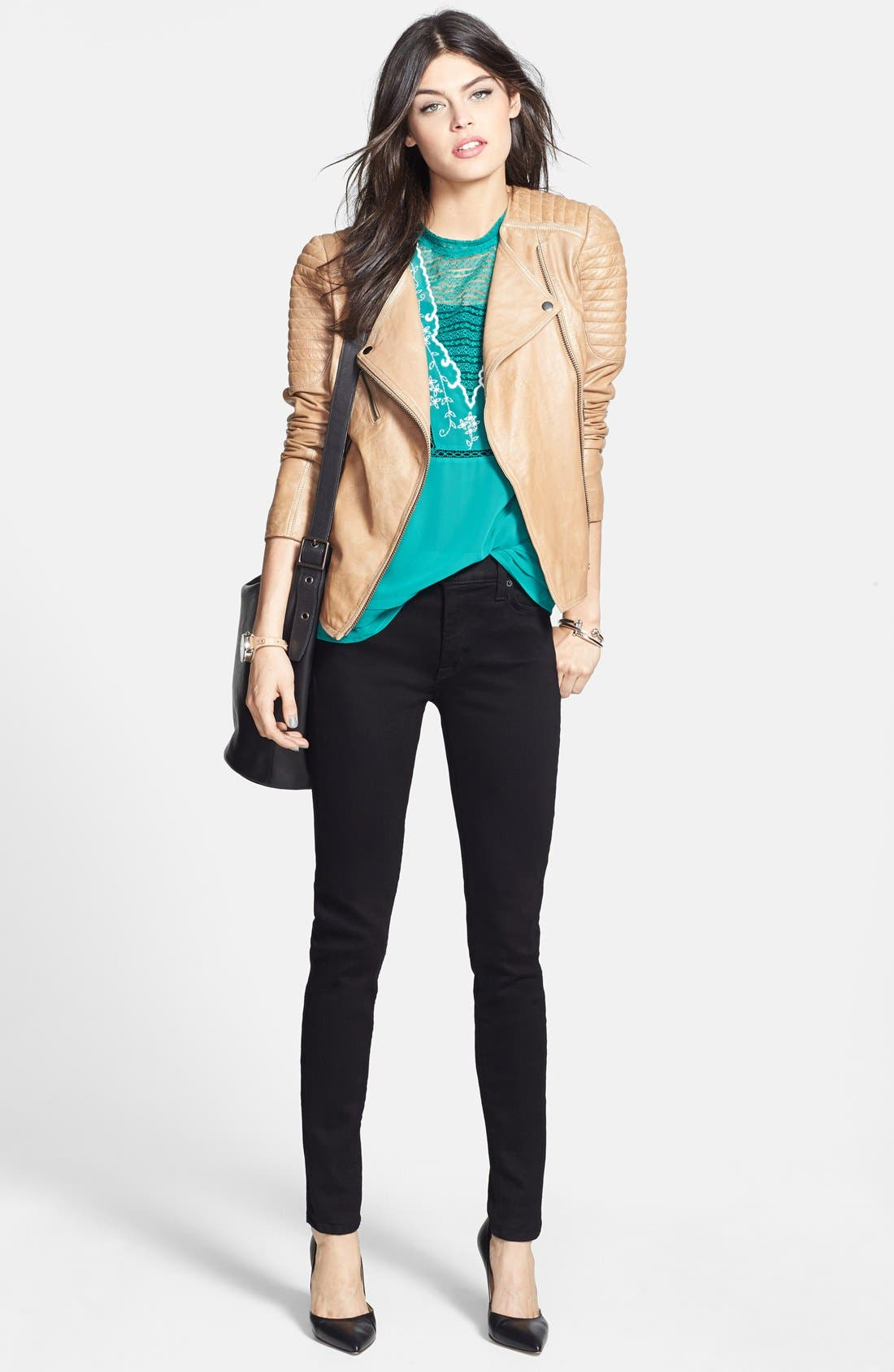 Alternate Image 6  - Hudson Jeans 'Nico' Mid Rise Super Skinny Jeans (Black)