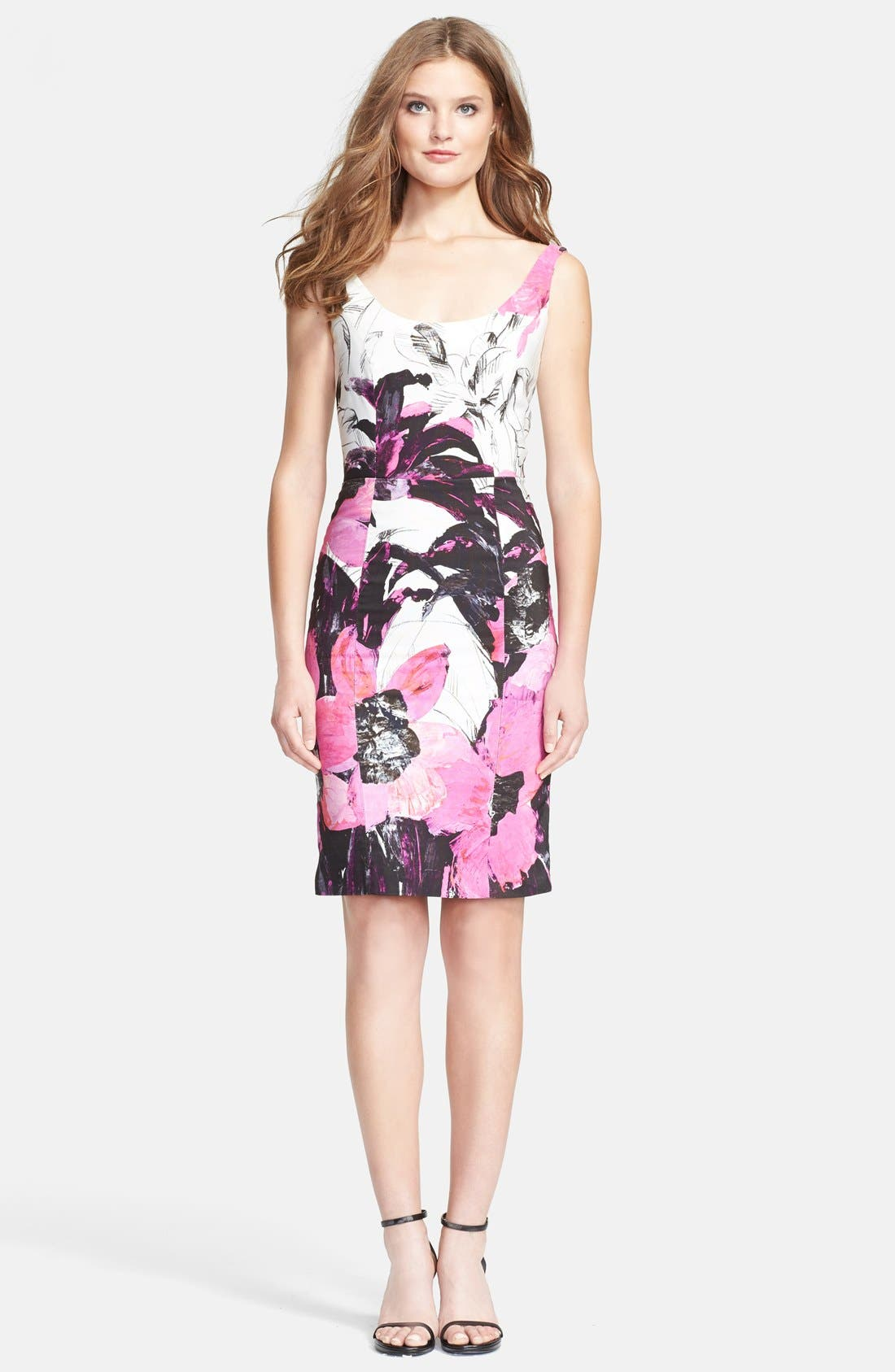 Alternate Image 1 Selected - Milly 'Winter Orchid Sophia' Print Faille Sheath Dress