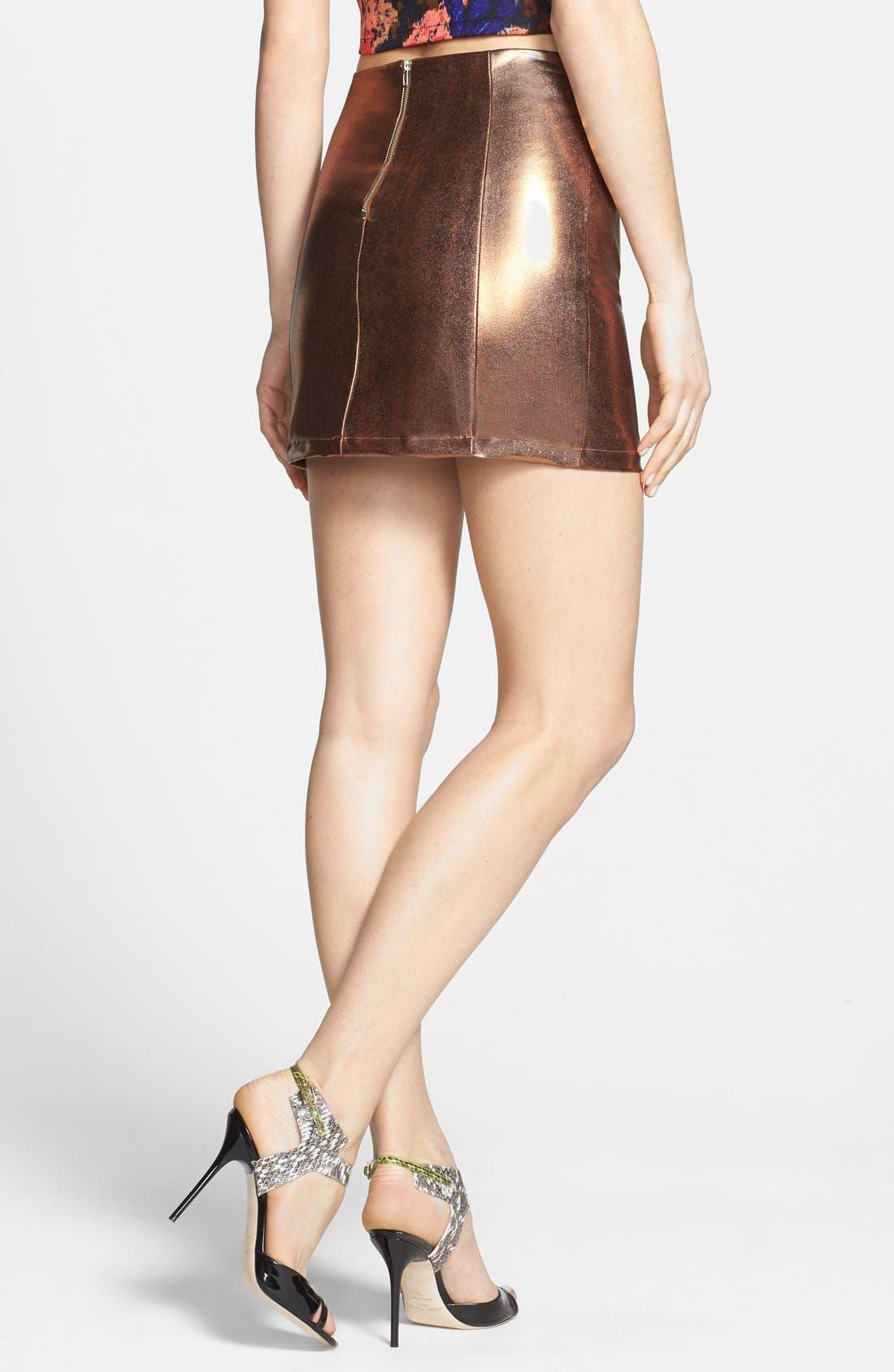 Alternate Image 2  - Rules of Etiquette Metallic Miniskirt