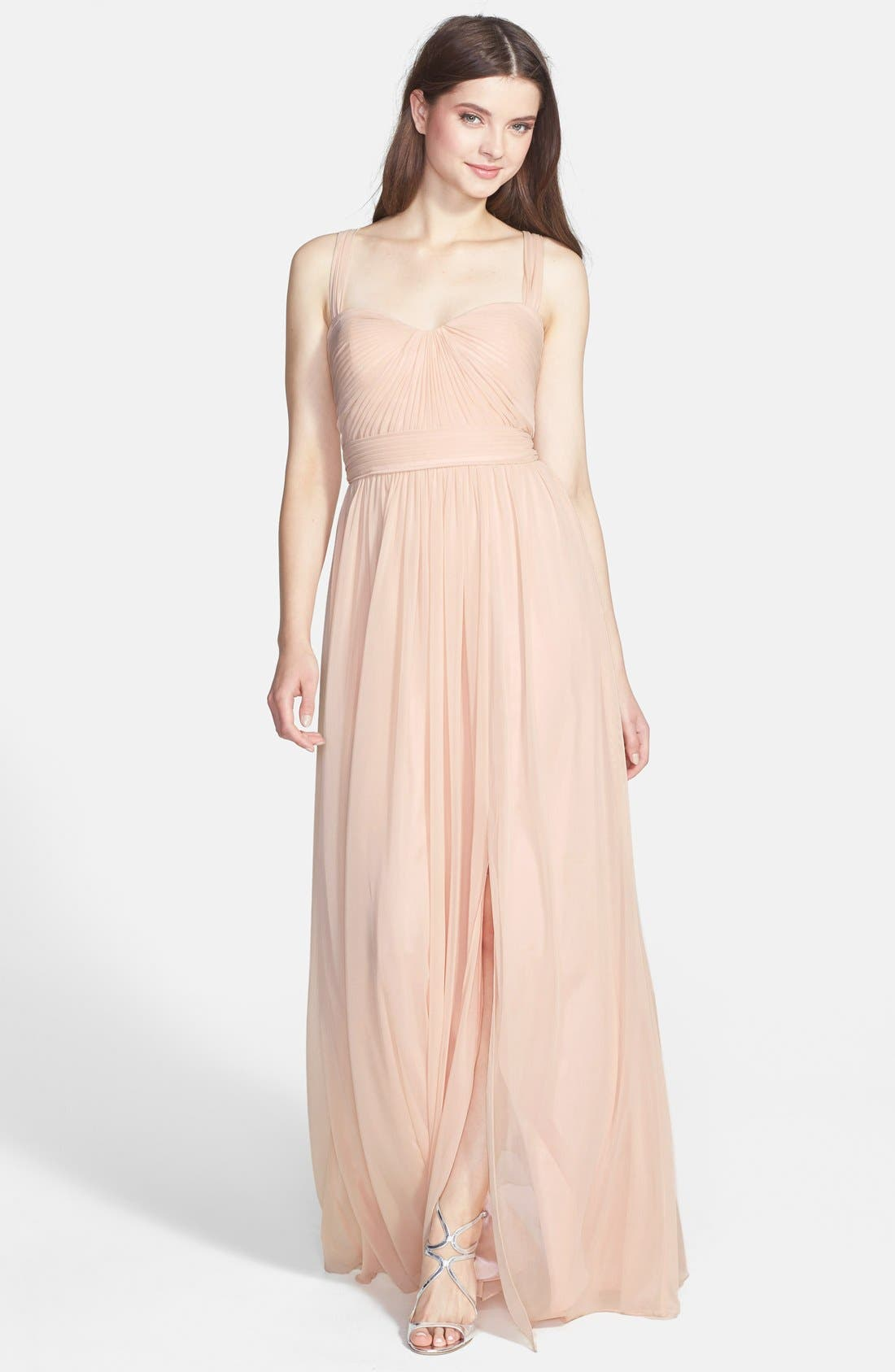 Alternate Image 1 Selected - ML Monique Lhuillier Bridesmaids Jersey Chiffon Gown