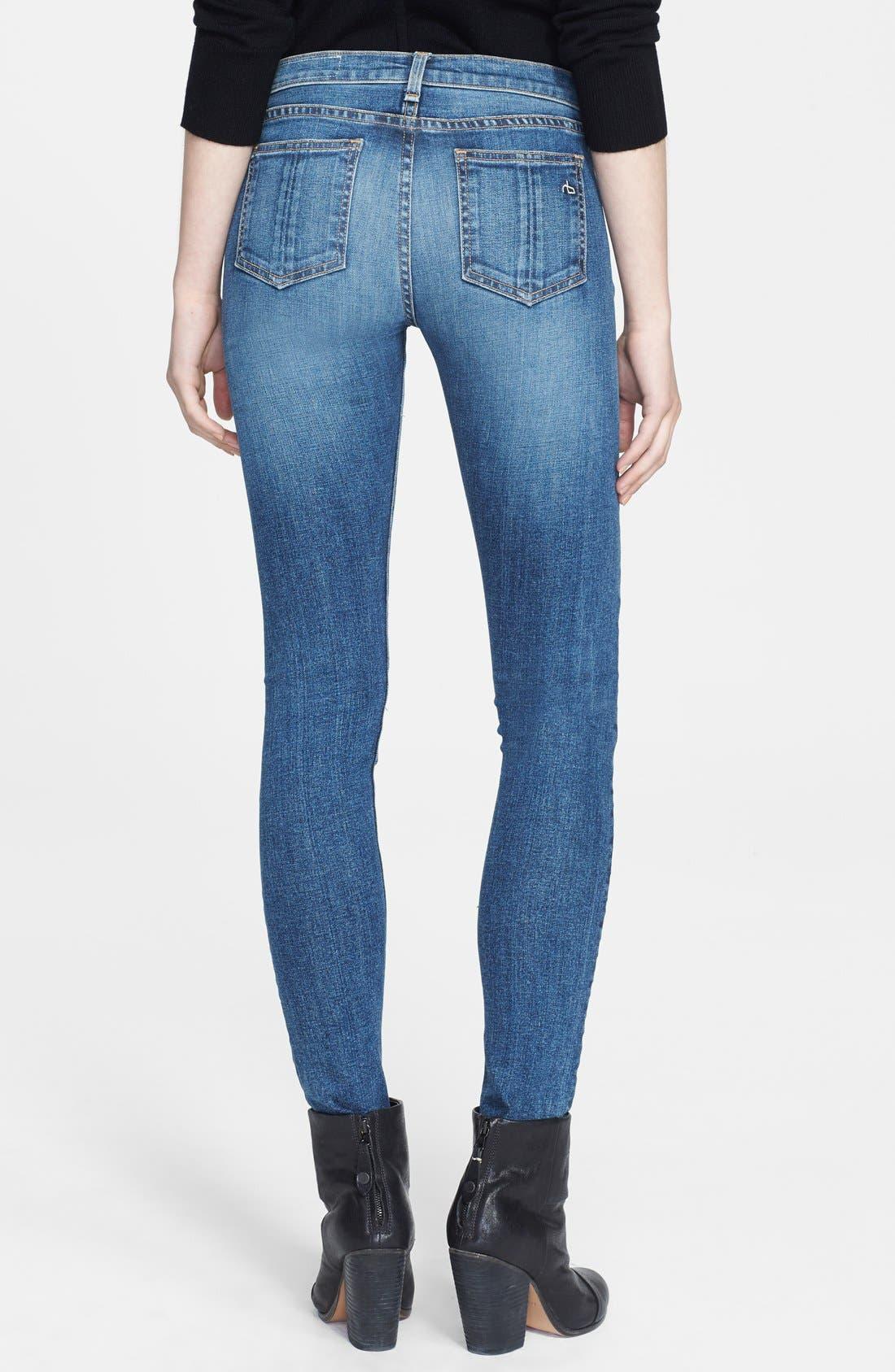 Alternate Image 2  - rag & bone/JEAN Skinny Stretch Jeans (Sloane Plaid Repair)