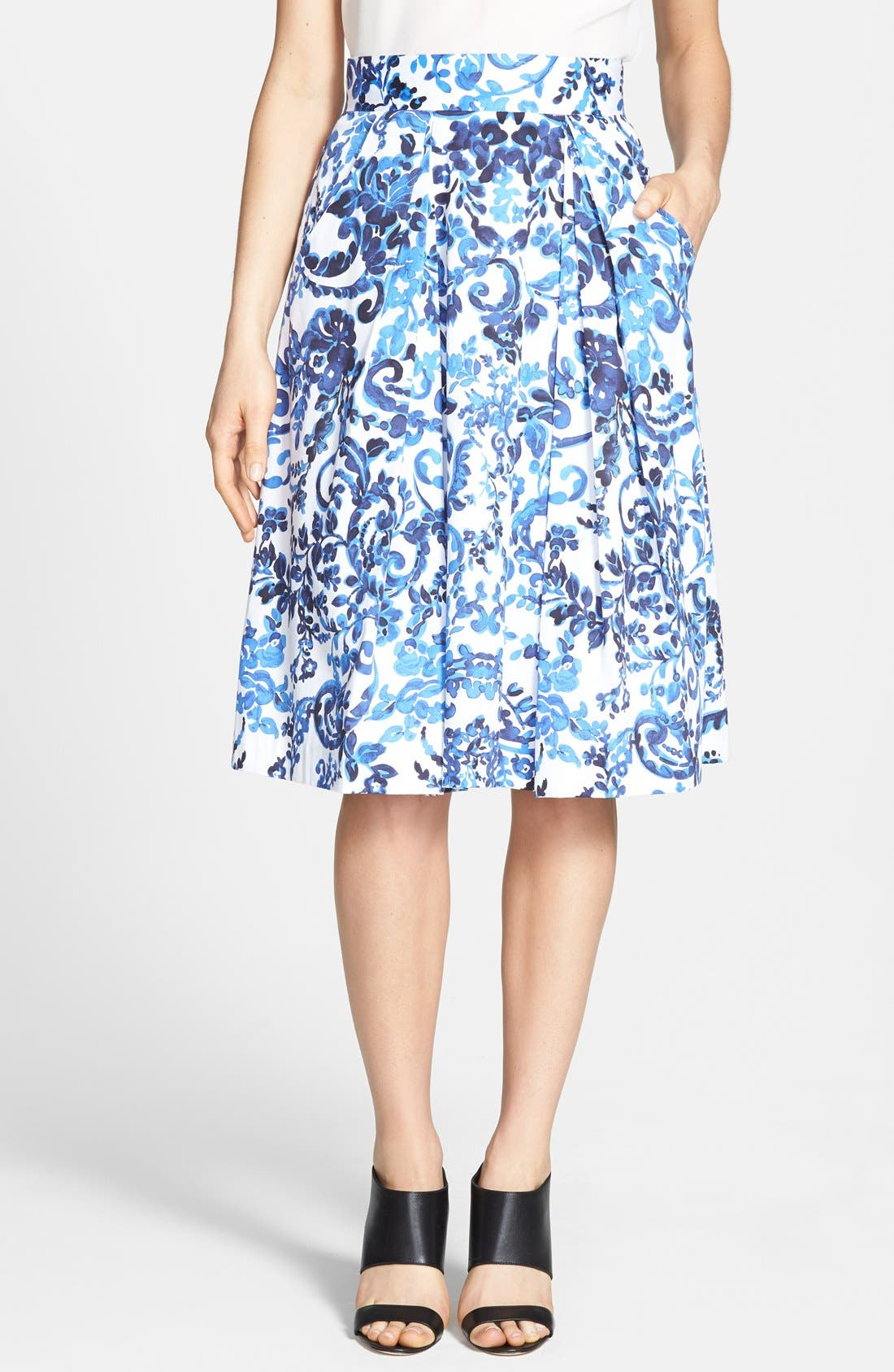 'katie' Print Flare Skirt by Milly