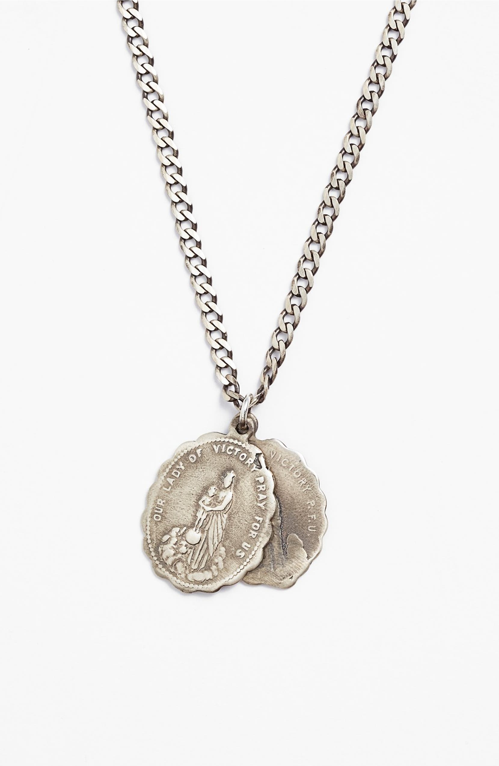 st necklace company antiqued medal saints chain the catholic antique silver benedict