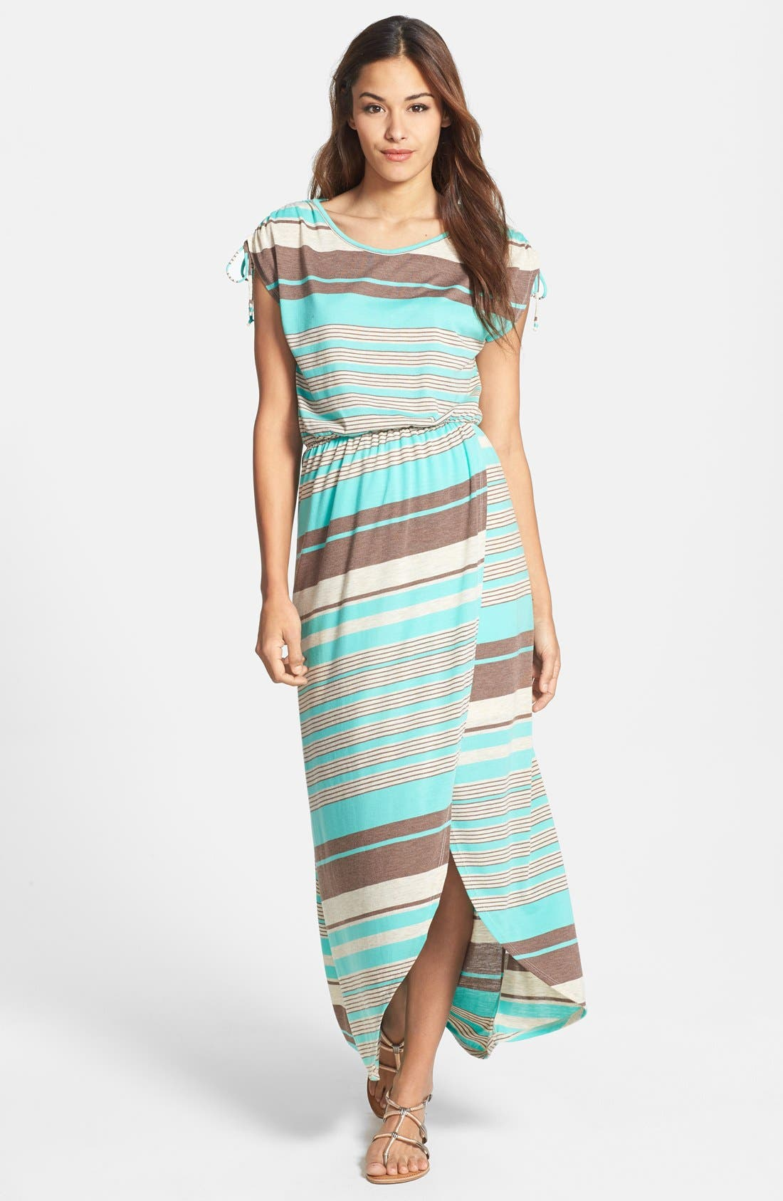 Main Image - Loveappella Faux Wrap Stripe Maxi Dress (Petite)