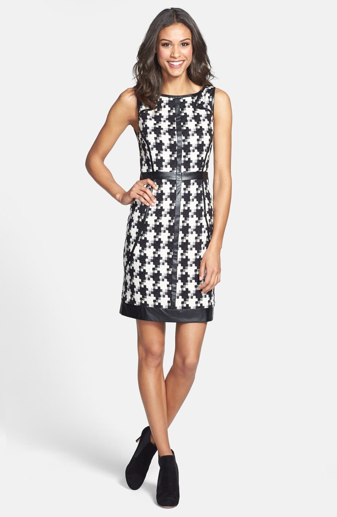 Alternate Image 5  - Laundry by Shelli Segal Faux Leather Trim Houndstooth Sheath Dress