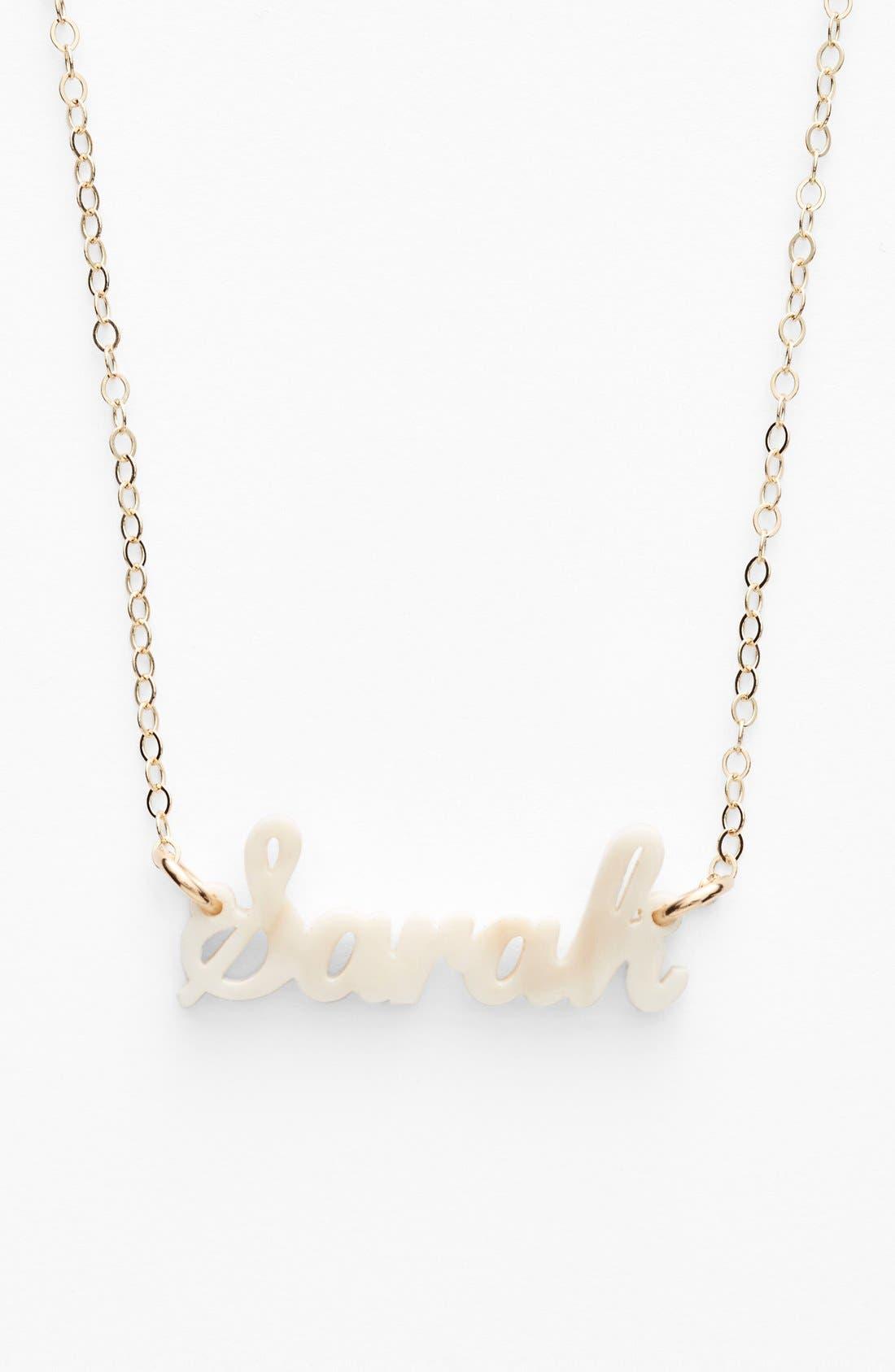 'Script Font' Personalized Nameplate Pendant Necklace,                             Main thumbnail 1, color,                             Blonde Tortoise/ Gold